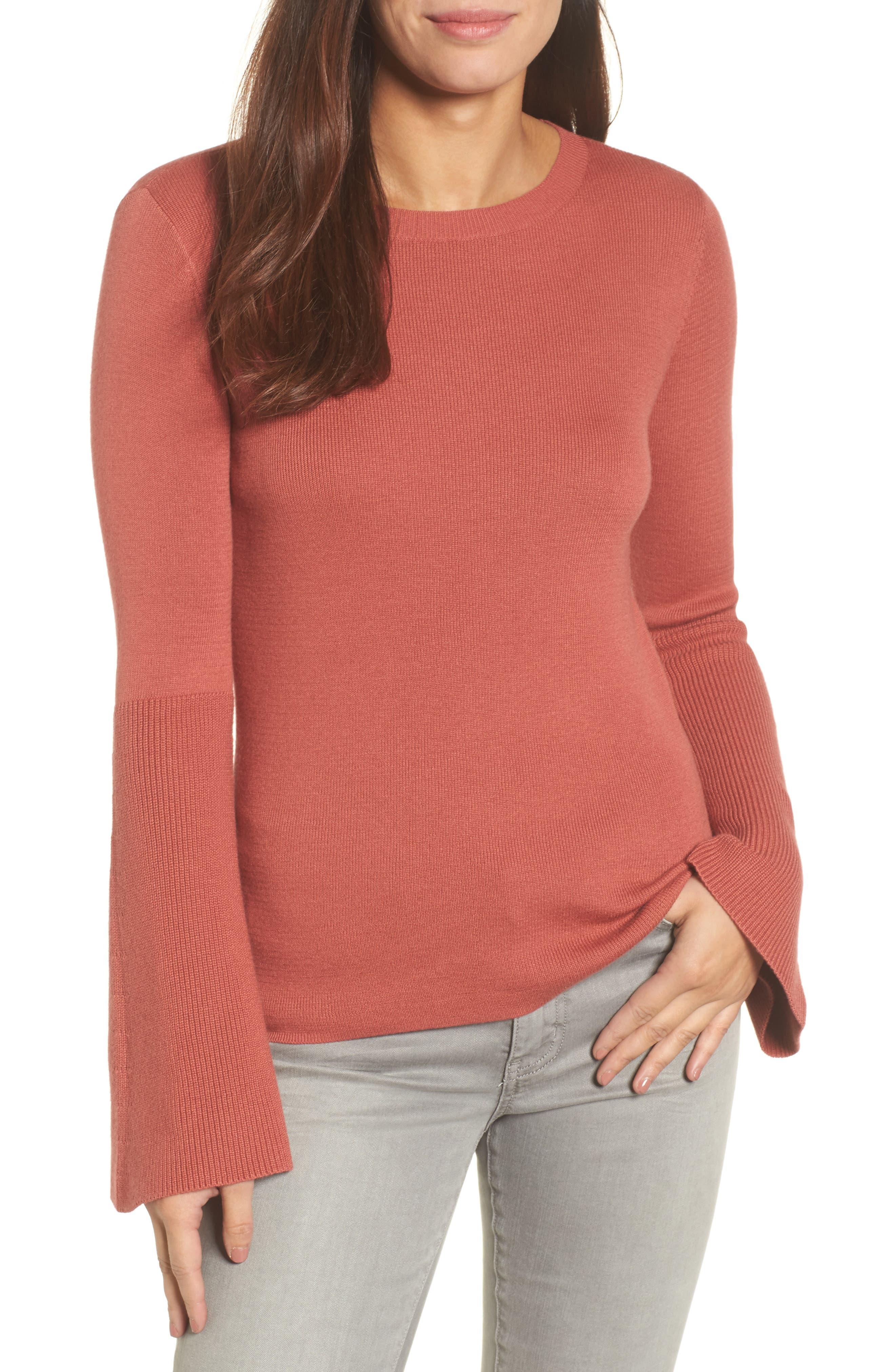 Bell Sleeve Rib Sweater,                             Main thumbnail 4, color,