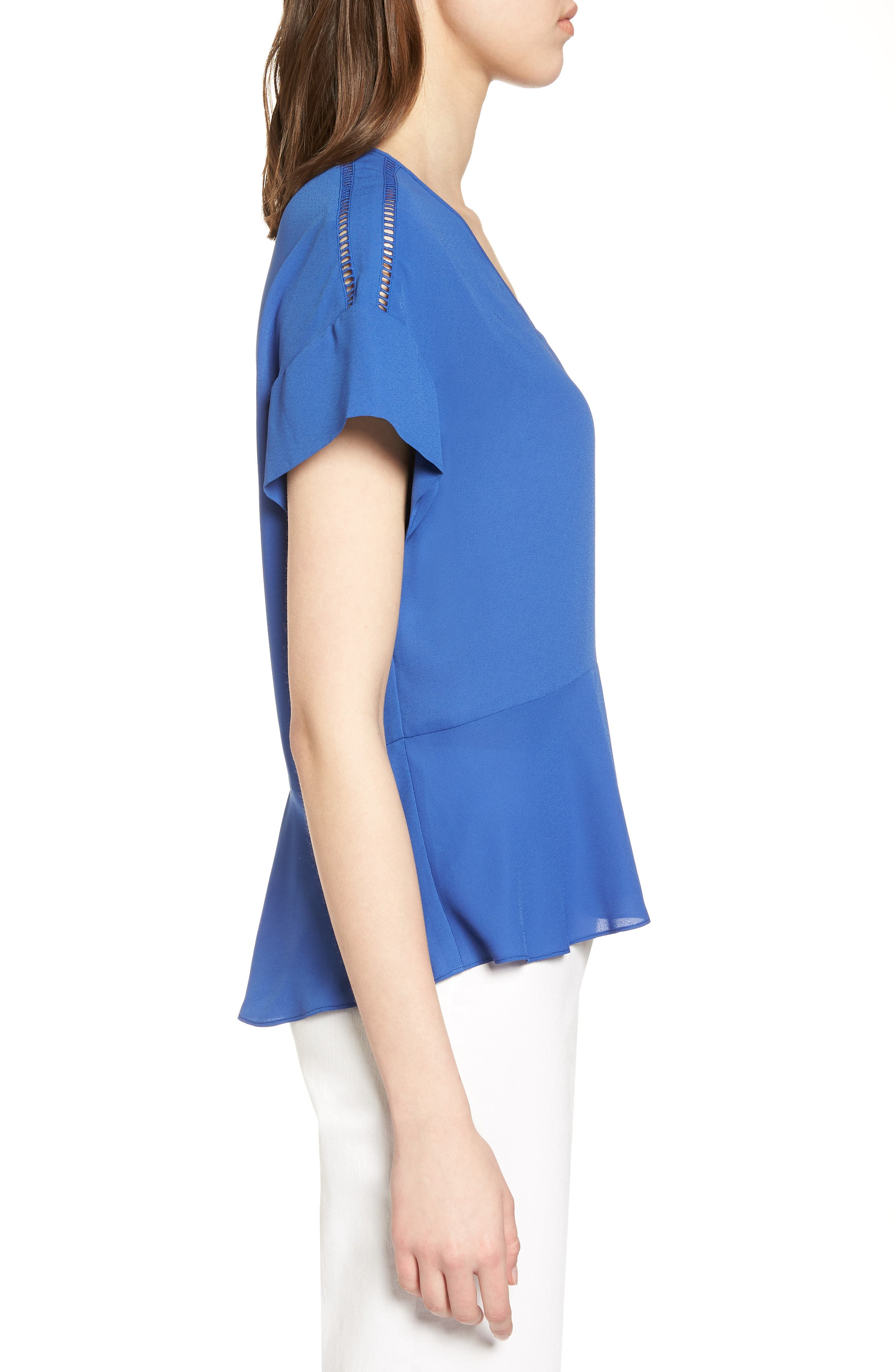 Ruffle Sleeve Peplum Stretch Cotton Blend Top,                             Alternate thumbnail 12, color,