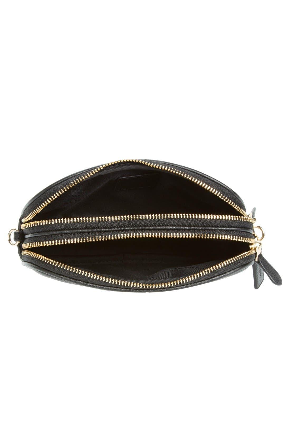 Convertible Leather Crossbody Bag,                             Alternate thumbnail 6, color,                             001