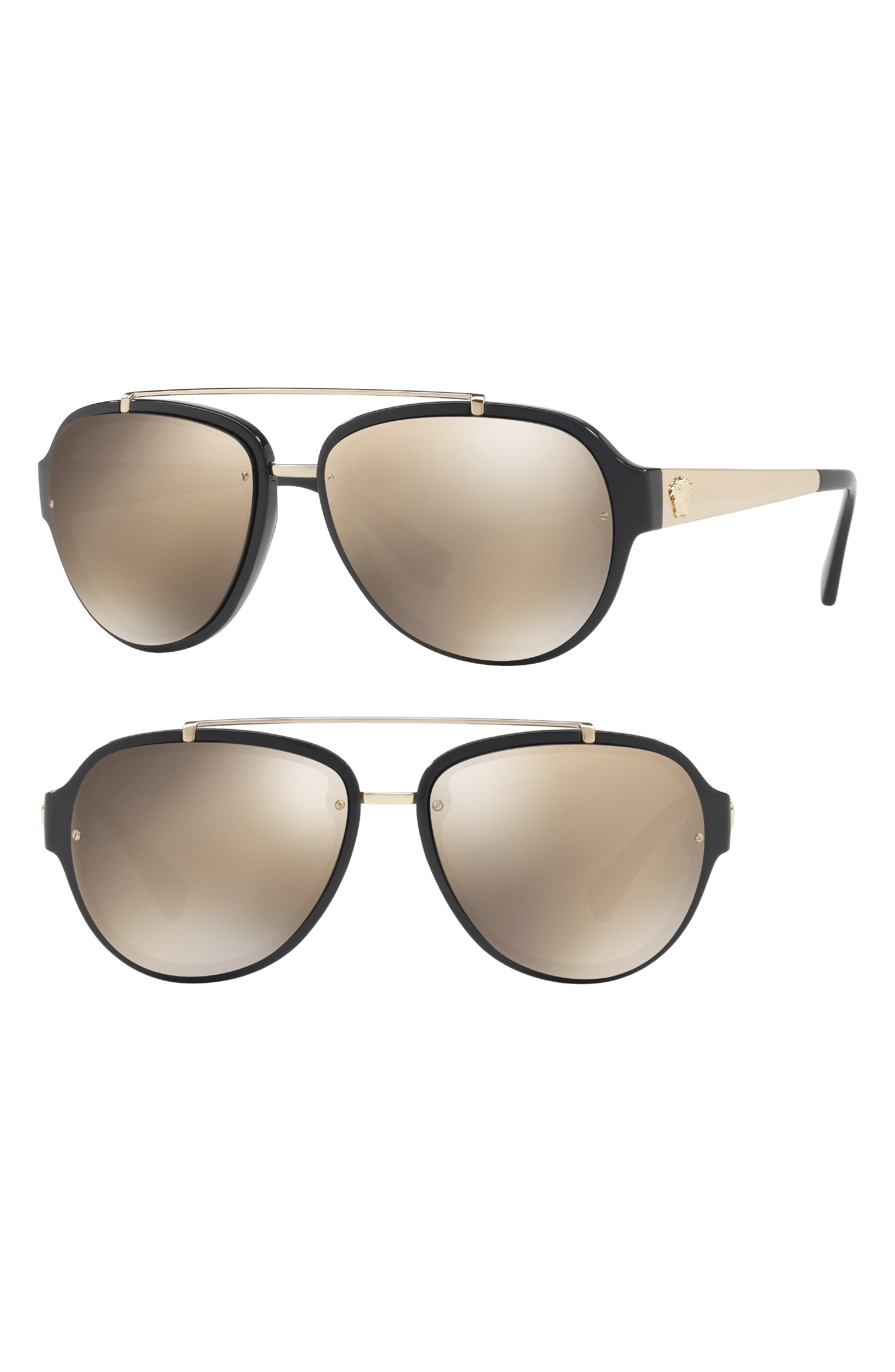 57mm Aviator Sunglasses,                             Alternate thumbnail 2, color,                             BLACK/ BROWN