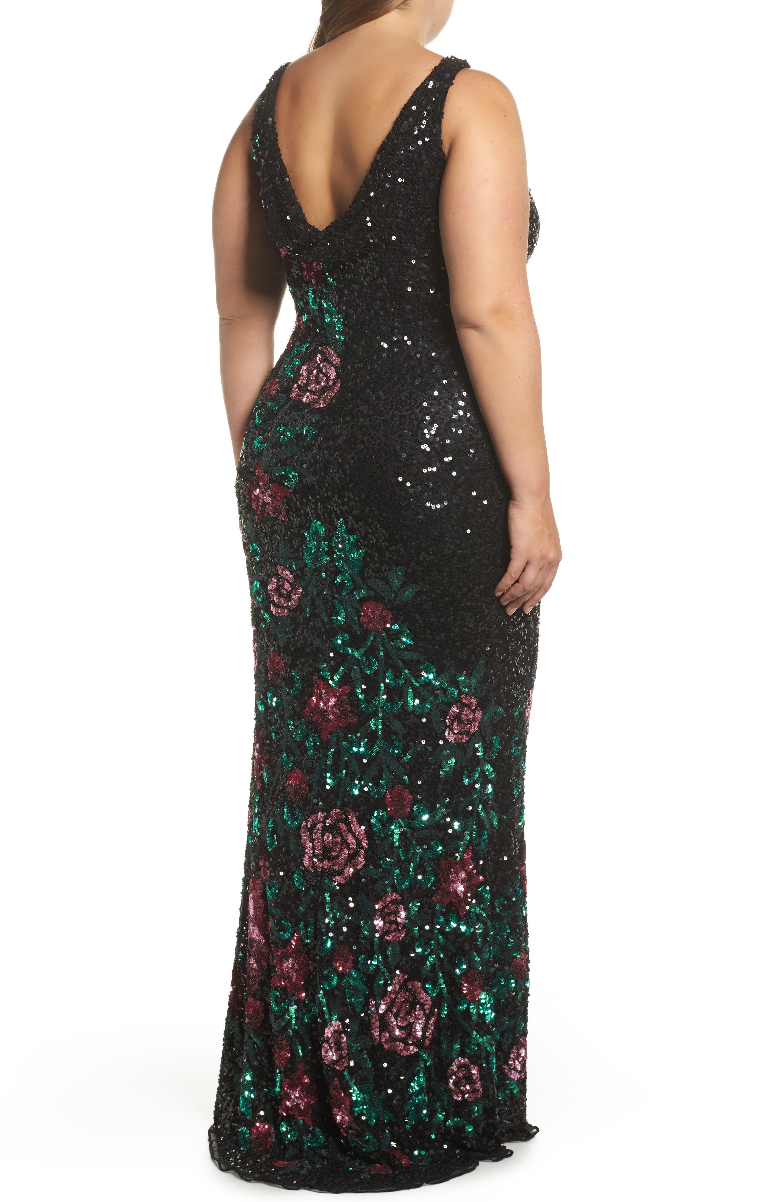 Floral Sequin A-Line Gown,                             Alternate thumbnail 2, color,                             BLACK/ MULTI