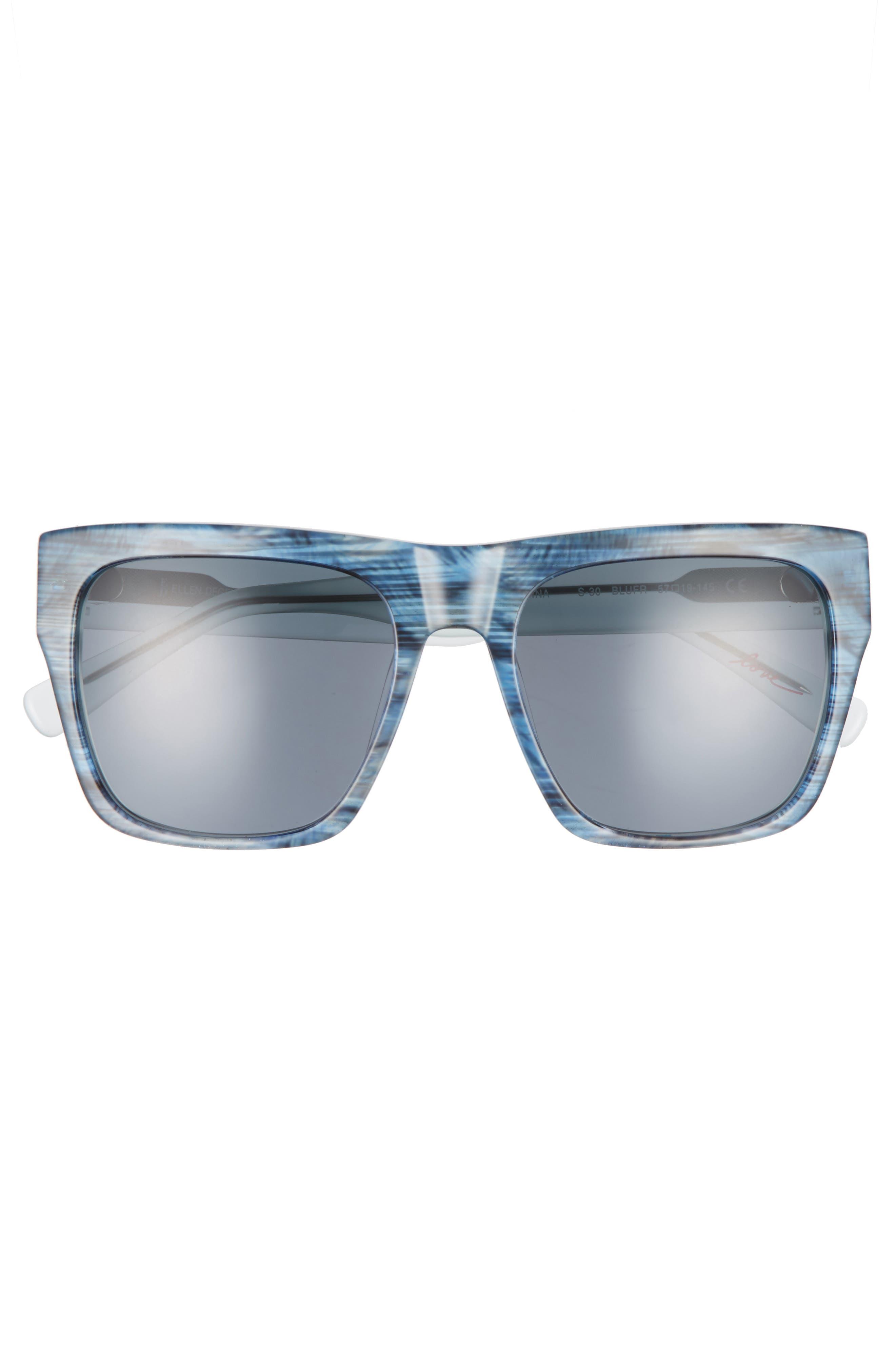 57mm Gradient Square Sunglasses,                             Alternate thumbnail 3, color,                             BLUE FEATHER