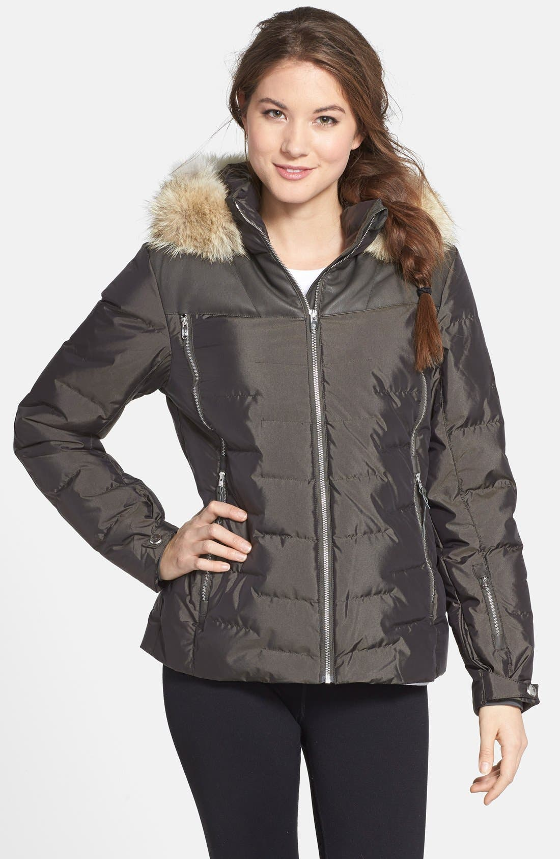 SPYDER,                             'Falline' Down Jacket with Genuine Coyote Fur Trim,                             Main thumbnail 1, color,                             020