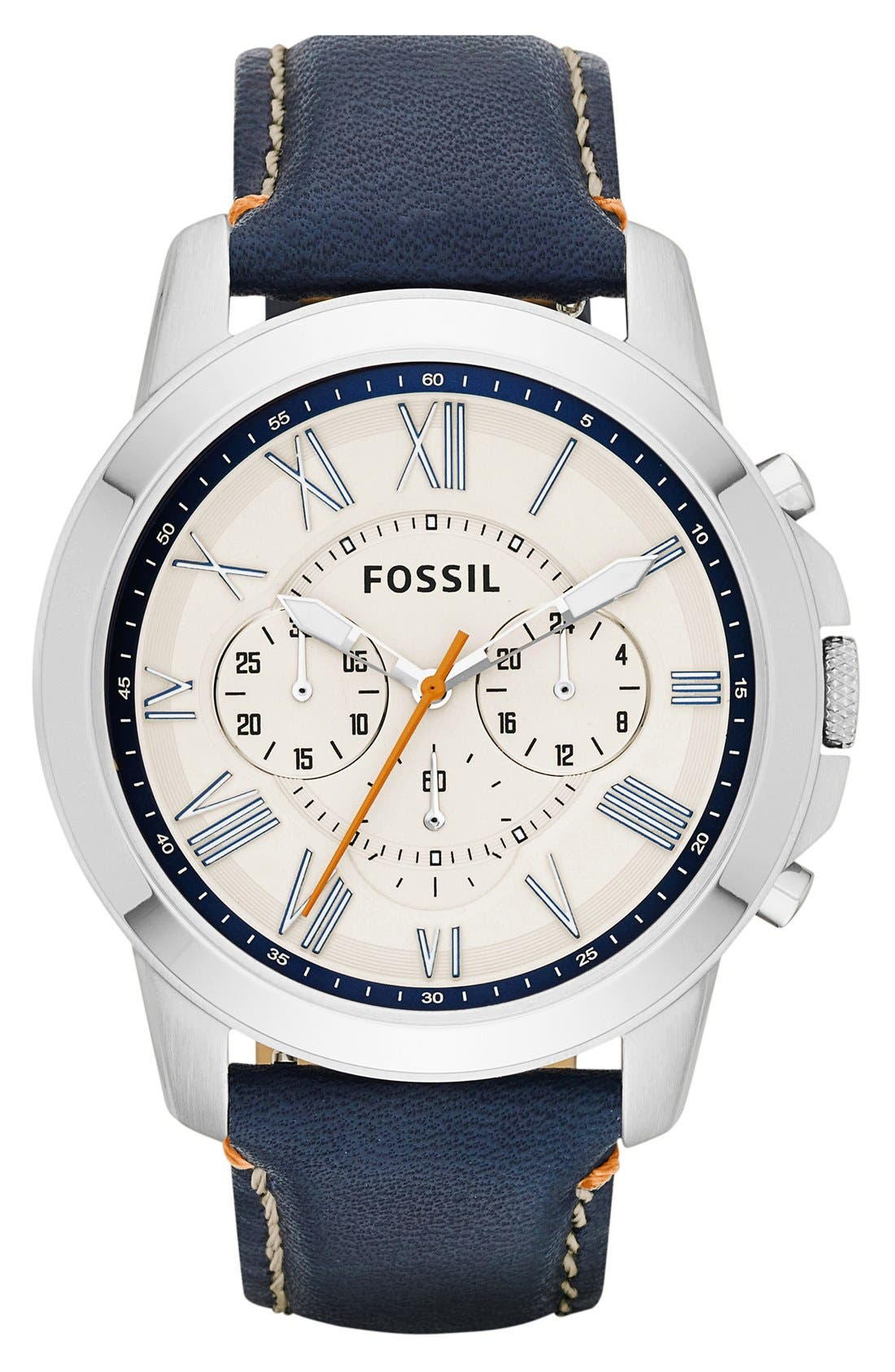 'Grant' Round Chronograph Leather Strap Watch, 44mm,                             Main thumbnail 30, color,