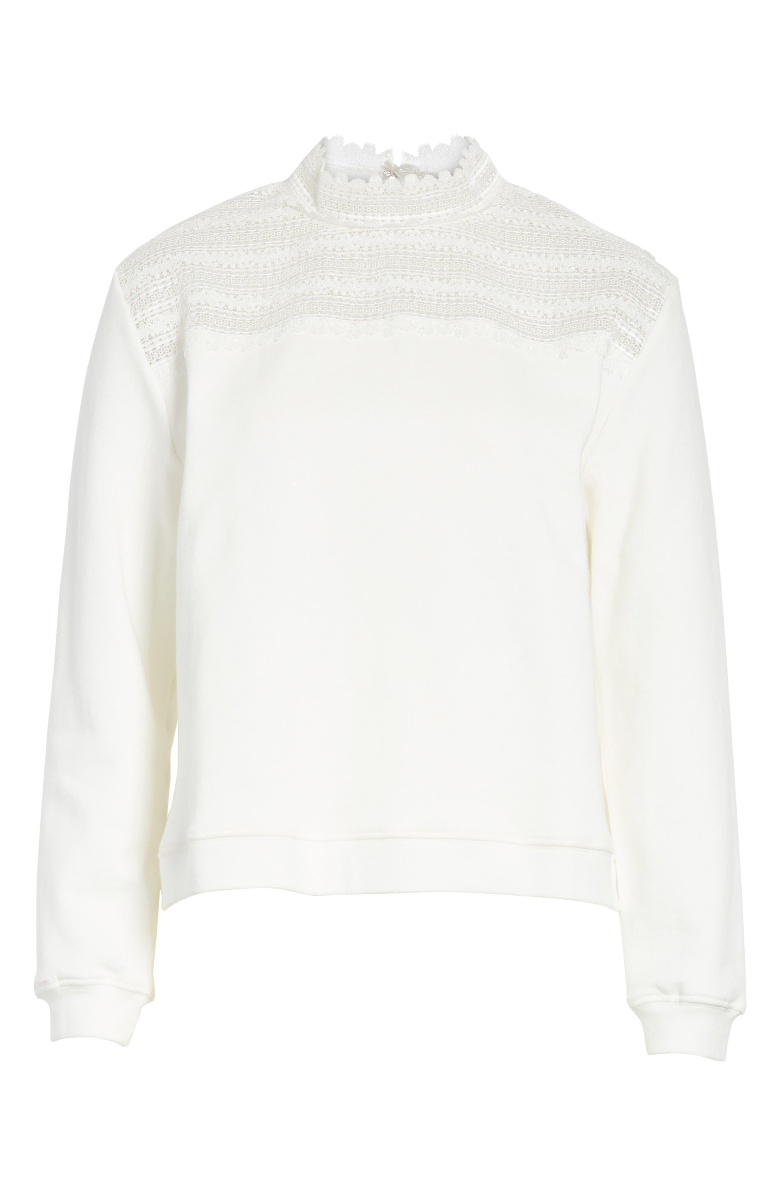 Lace Yoke Sweater,                             Alternate thumbnail 6, color,                             900