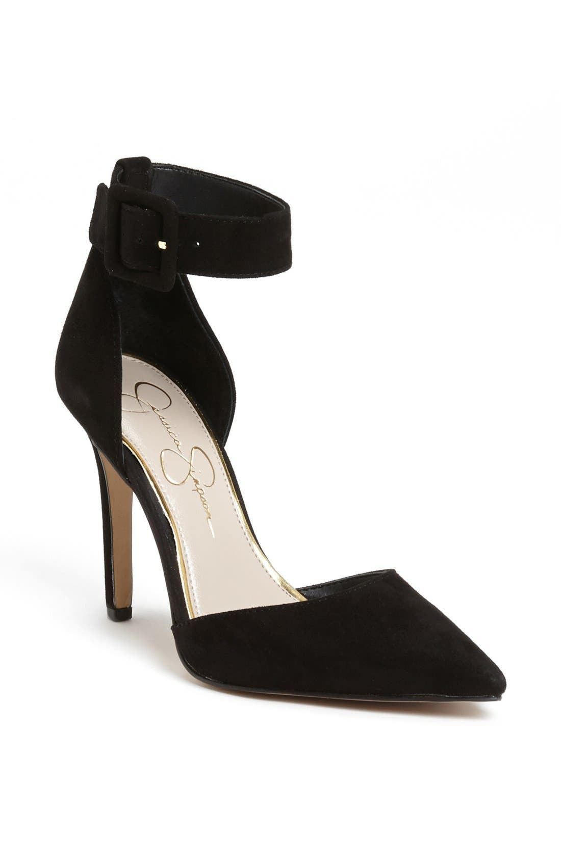 'Cayna' D'Orsay Ankle Strap Pump, Main, color, 001