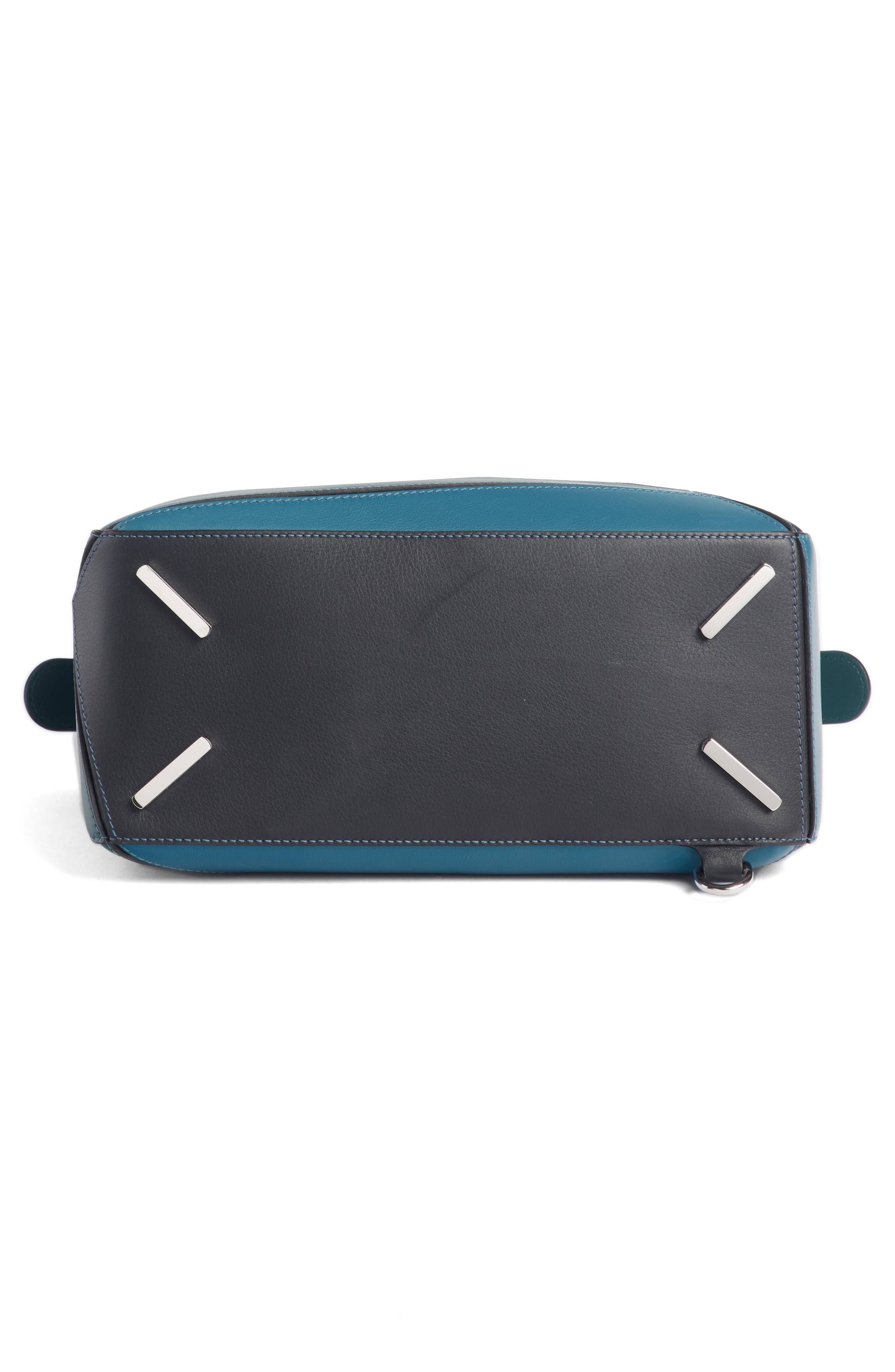Medium Puzzle Calfskin Leather Shoulder Bag,                             Alternate thumbnail 5, color,                             PETROLEUM BLUE/ CYPRESS