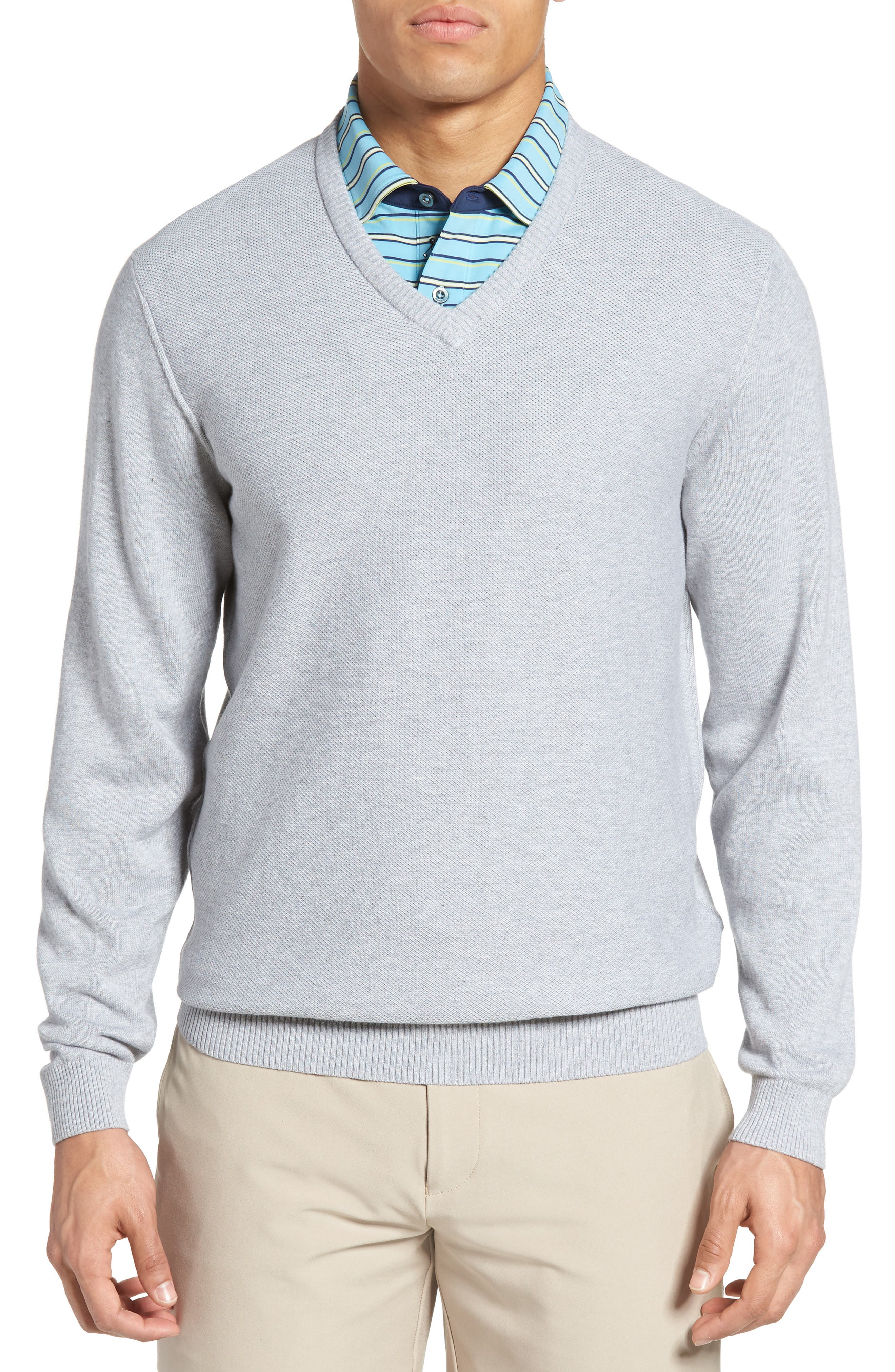 Piqué Jersey V-Neck Sweater,                         Main,                         color, 078