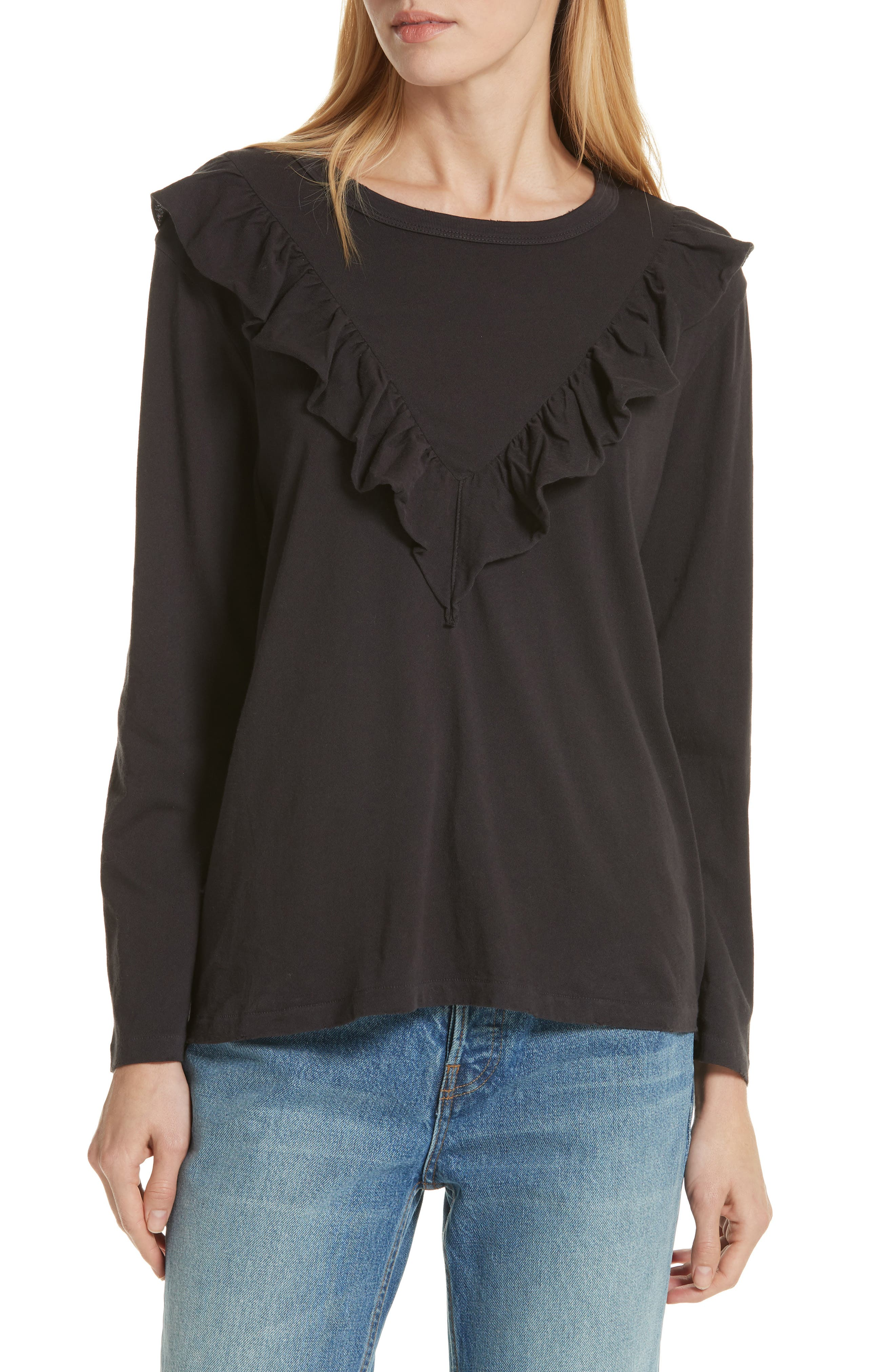 The Tuxedo Ruffle Tee,                             Main thumbnail 1, color,                             ALMOST BLACK