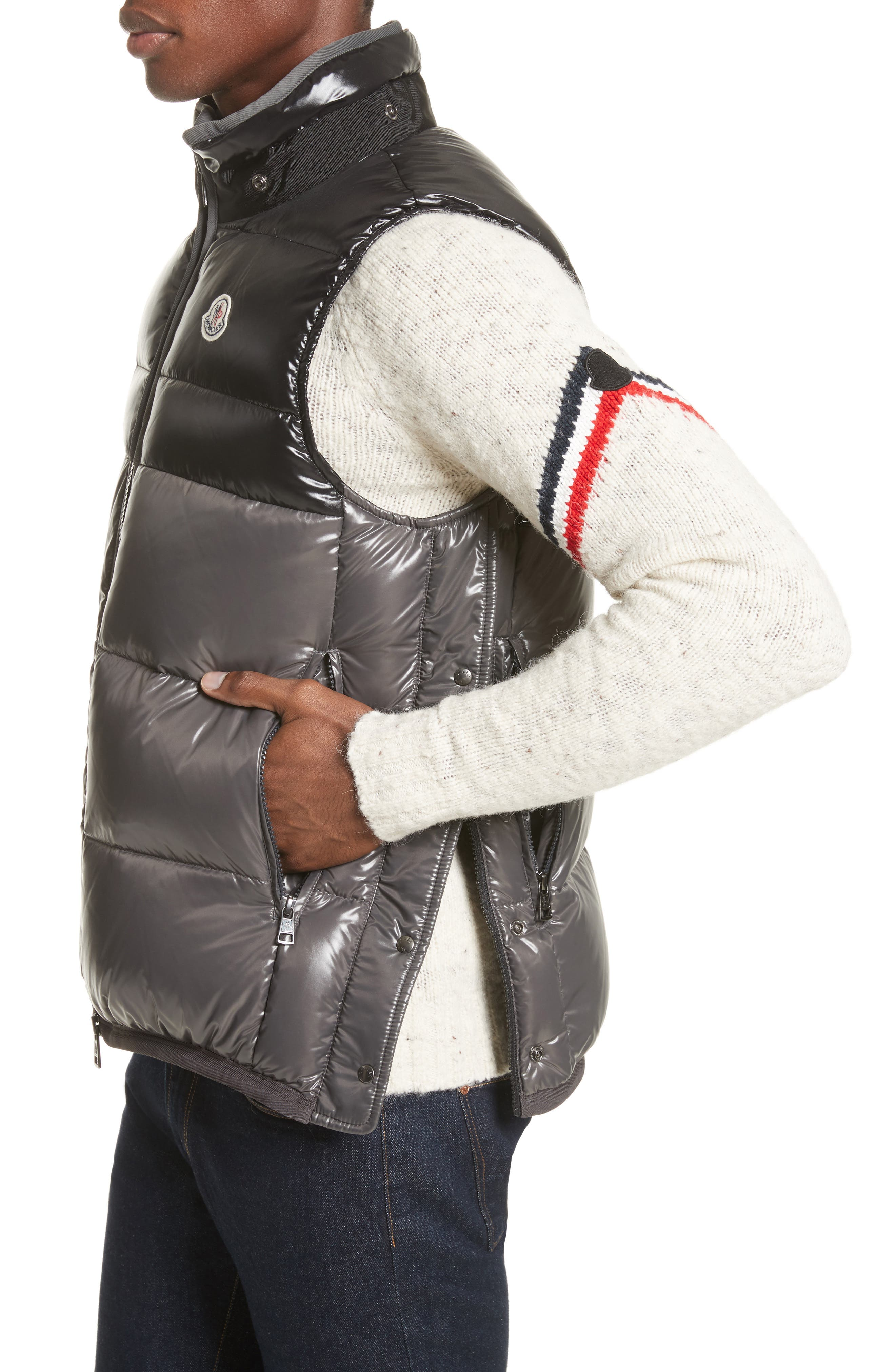 Balmat Quilted Down Vest with Detachable Hood,                             Alternate thumbnail 4, color,                             001