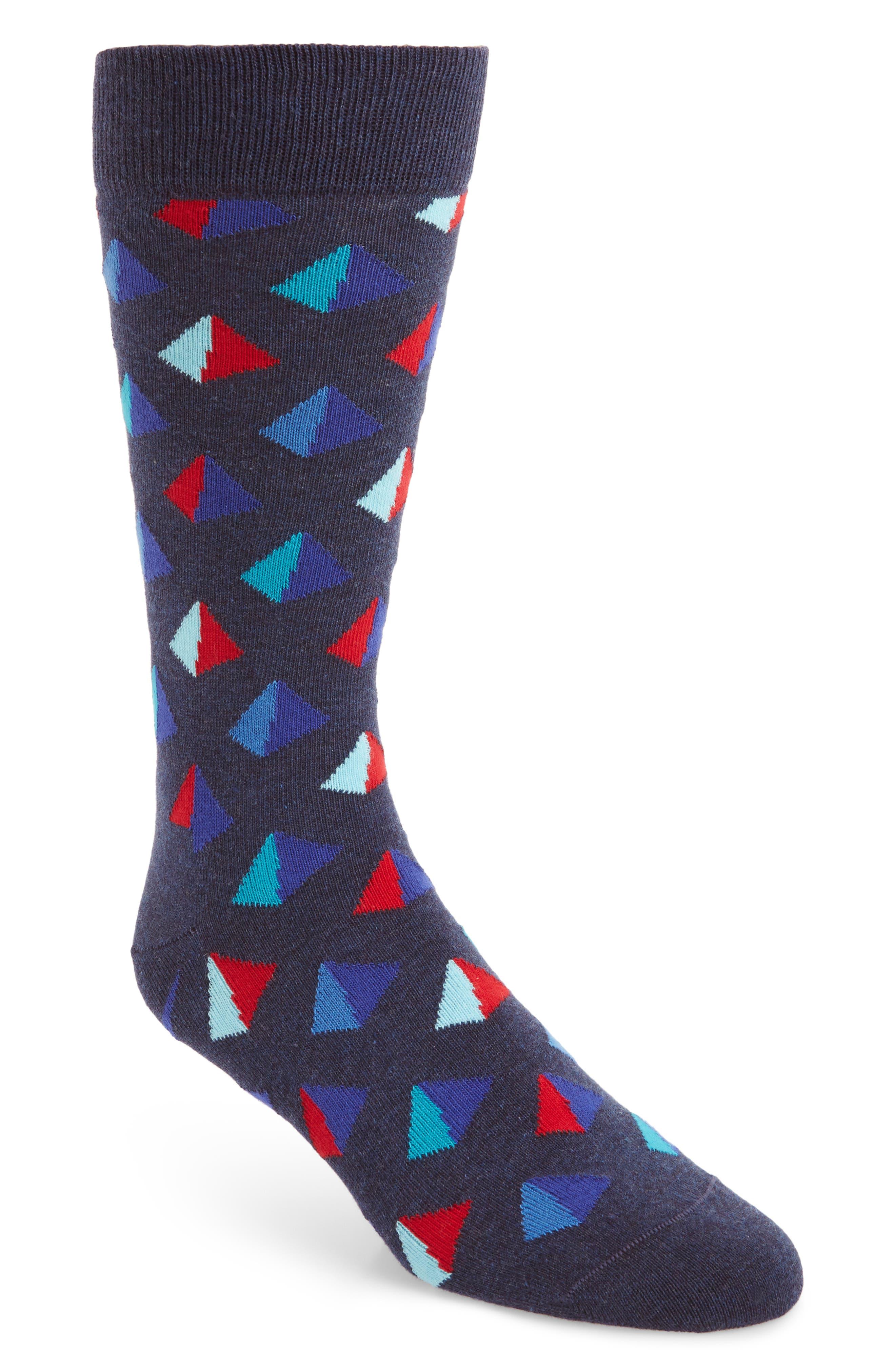 Pyramid Socks,                         Main,                         color, NAVY MULTI