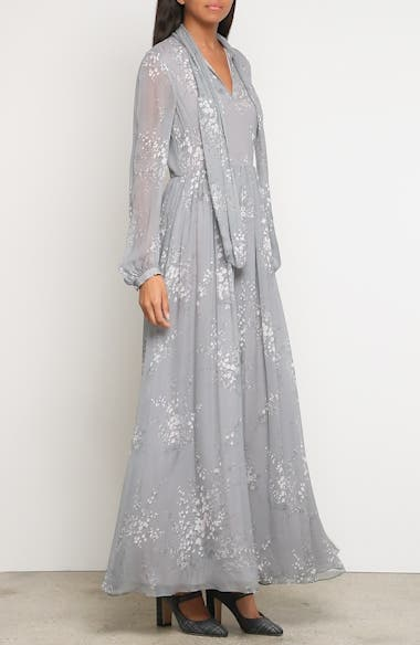 Floral Print Crinkle Chiffon Tie Neck Dress, video thumbnail