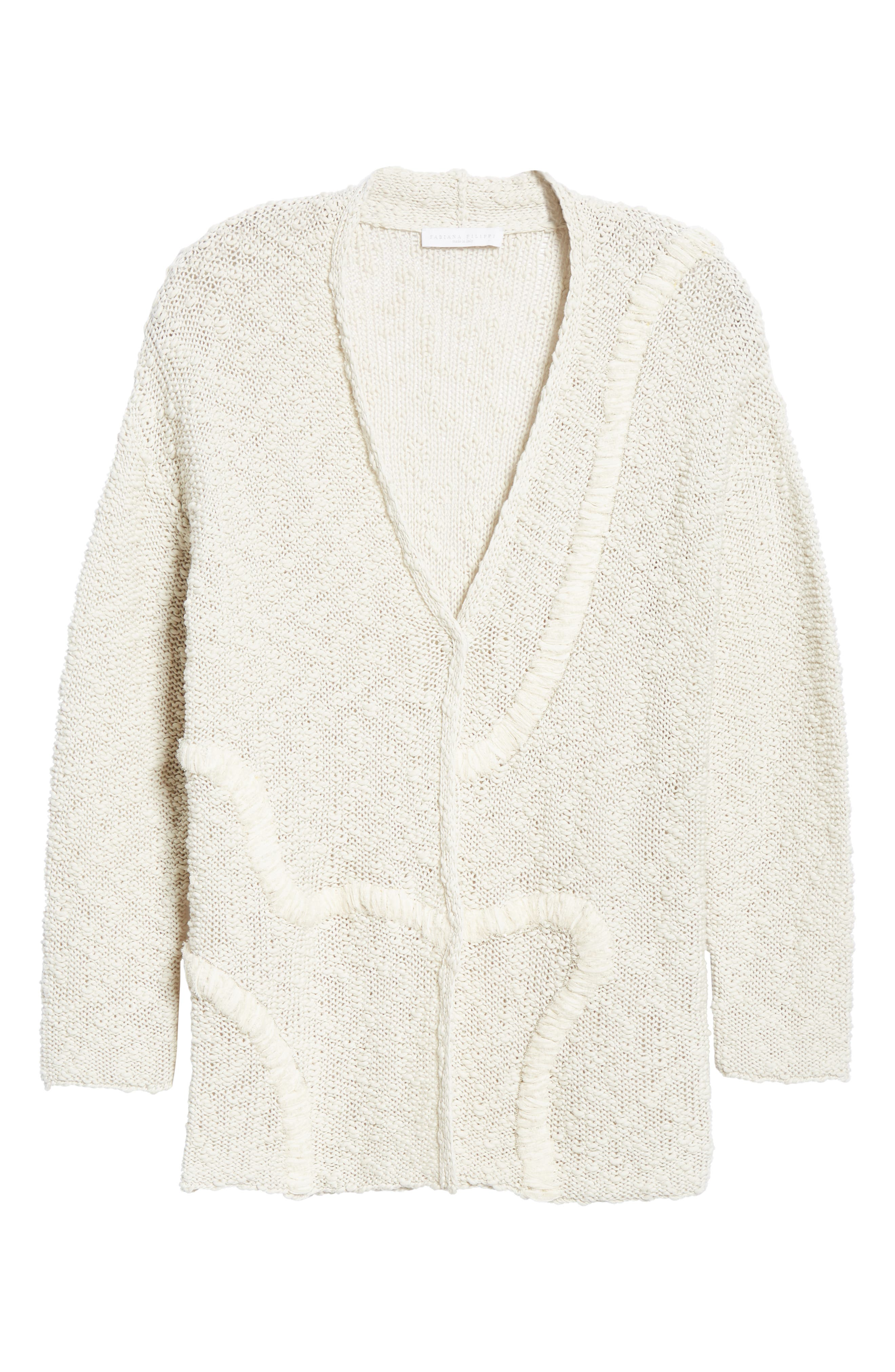 Embroidered Long Cardigan,                             Alternate thumbnail 6, color,                             BEIGE