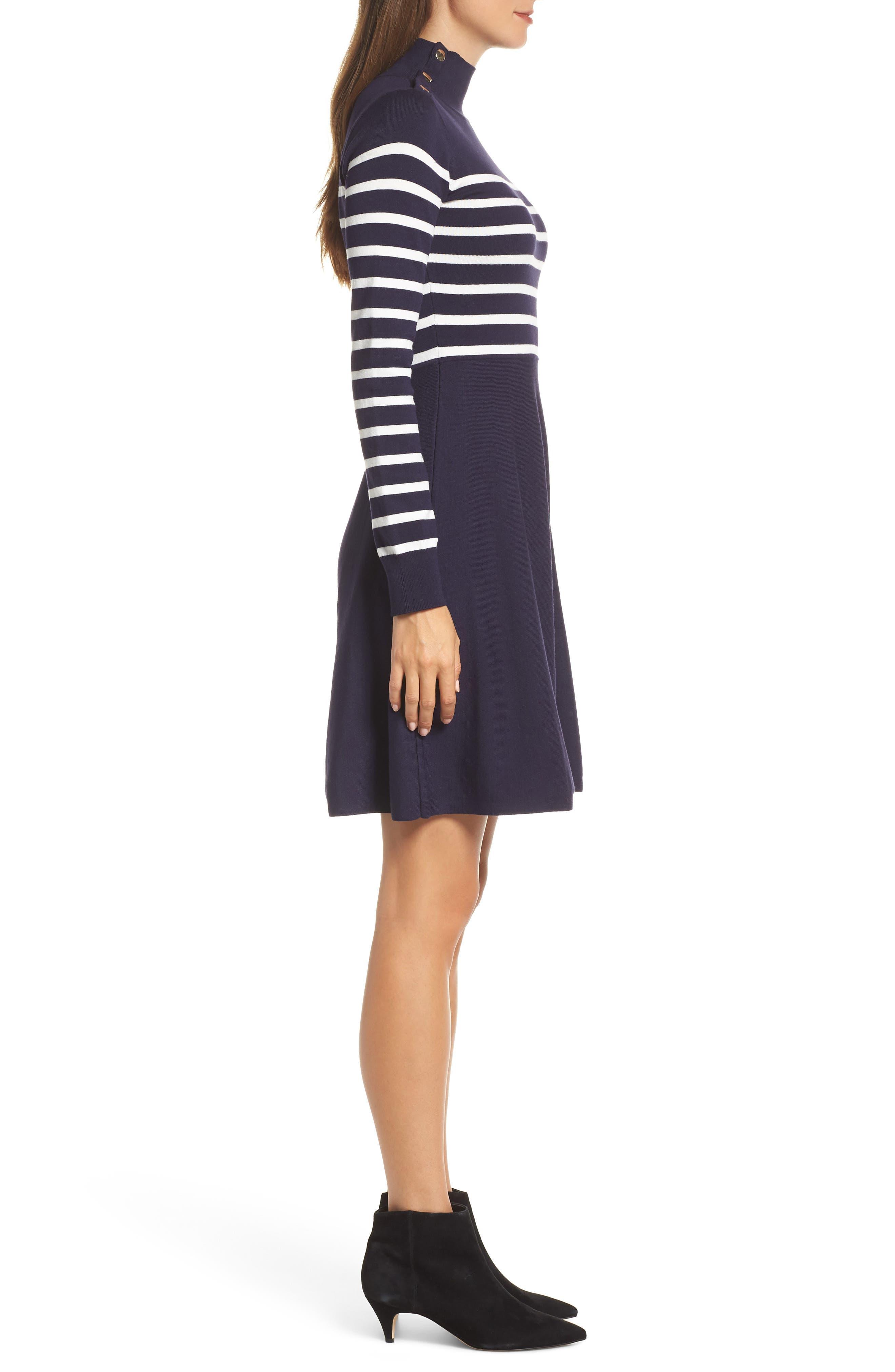 Stripe Mock Neck Fit & Flare Dress,                             Alternate thumbnail 3, color,                             NAVY