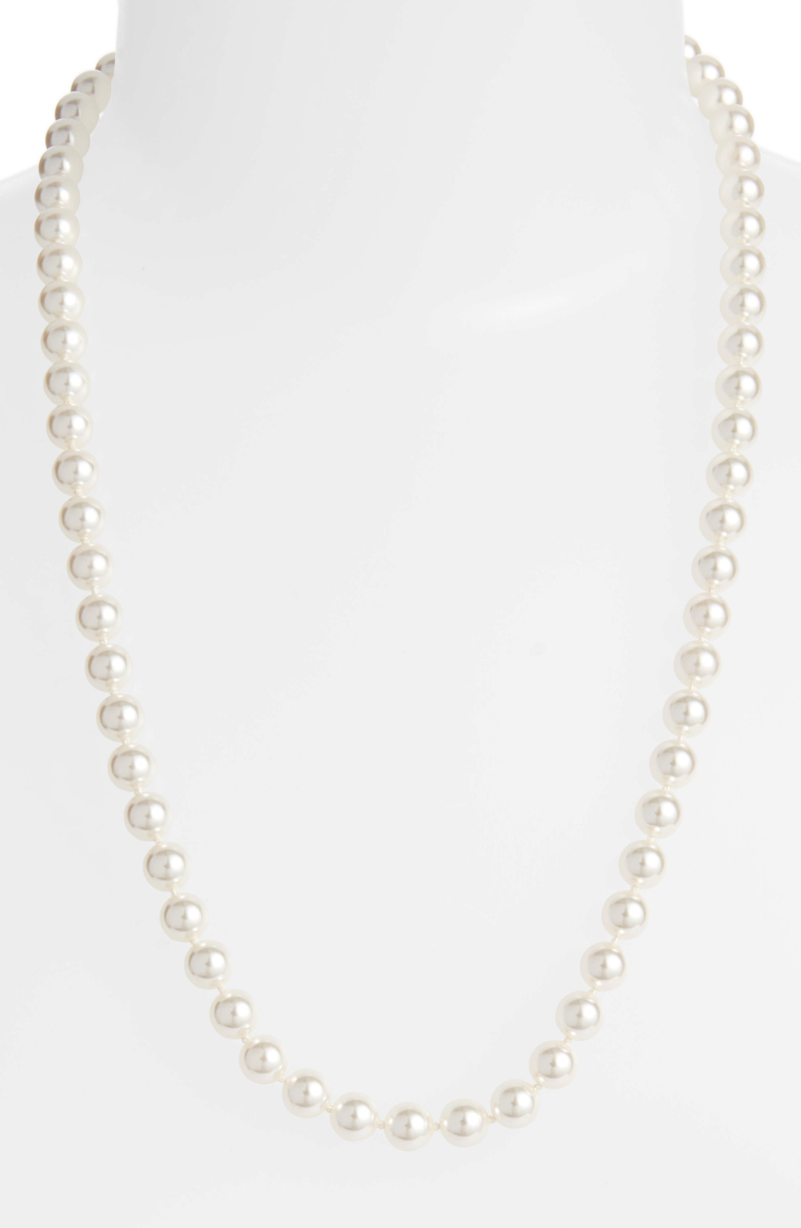 Simulated Pearl Long Necklace,                             Alternate thumbnail 2, color,                             PEARL/ SILVER