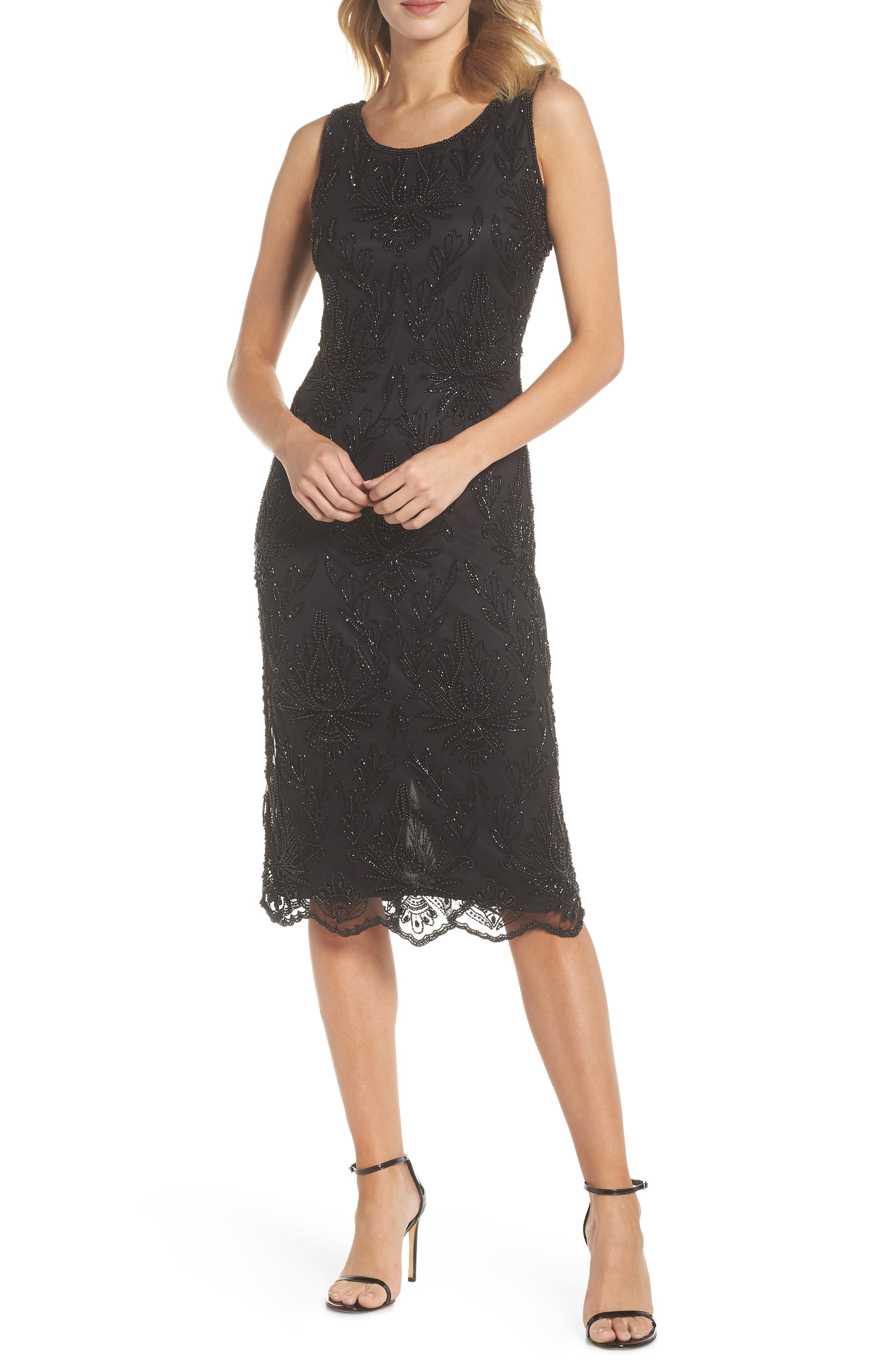 Lace Mid Dress,                             Main thumbnail 1, color,                             BLACK