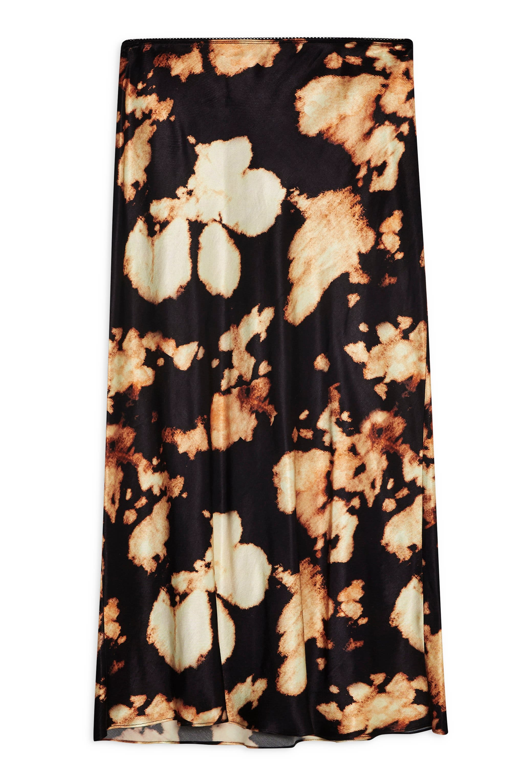 TOPSHOP,                             Tie Dye Bias Midi Skirt,                             Alternate thumbnail 3, color,                             BLACK MULTI