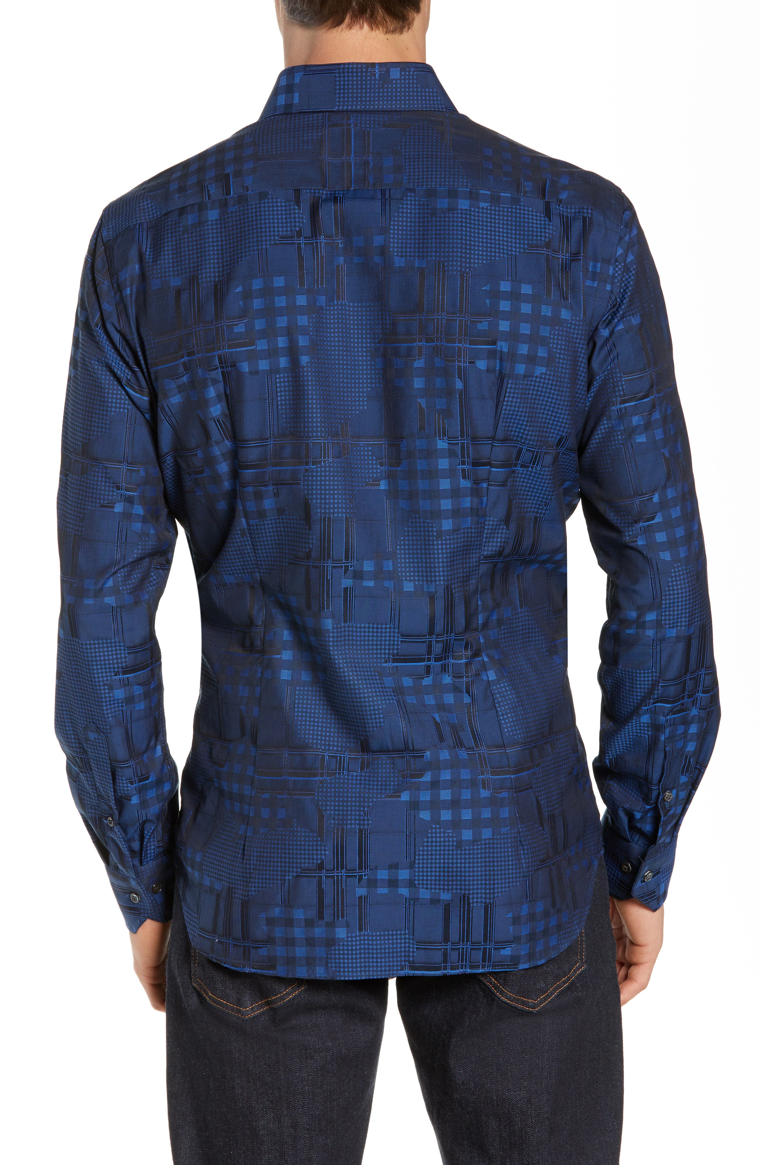 Luxor Tailored Fit Pattern Mix Sport Shirt,                             Alternate thumbnail 3, color,                             NAVY