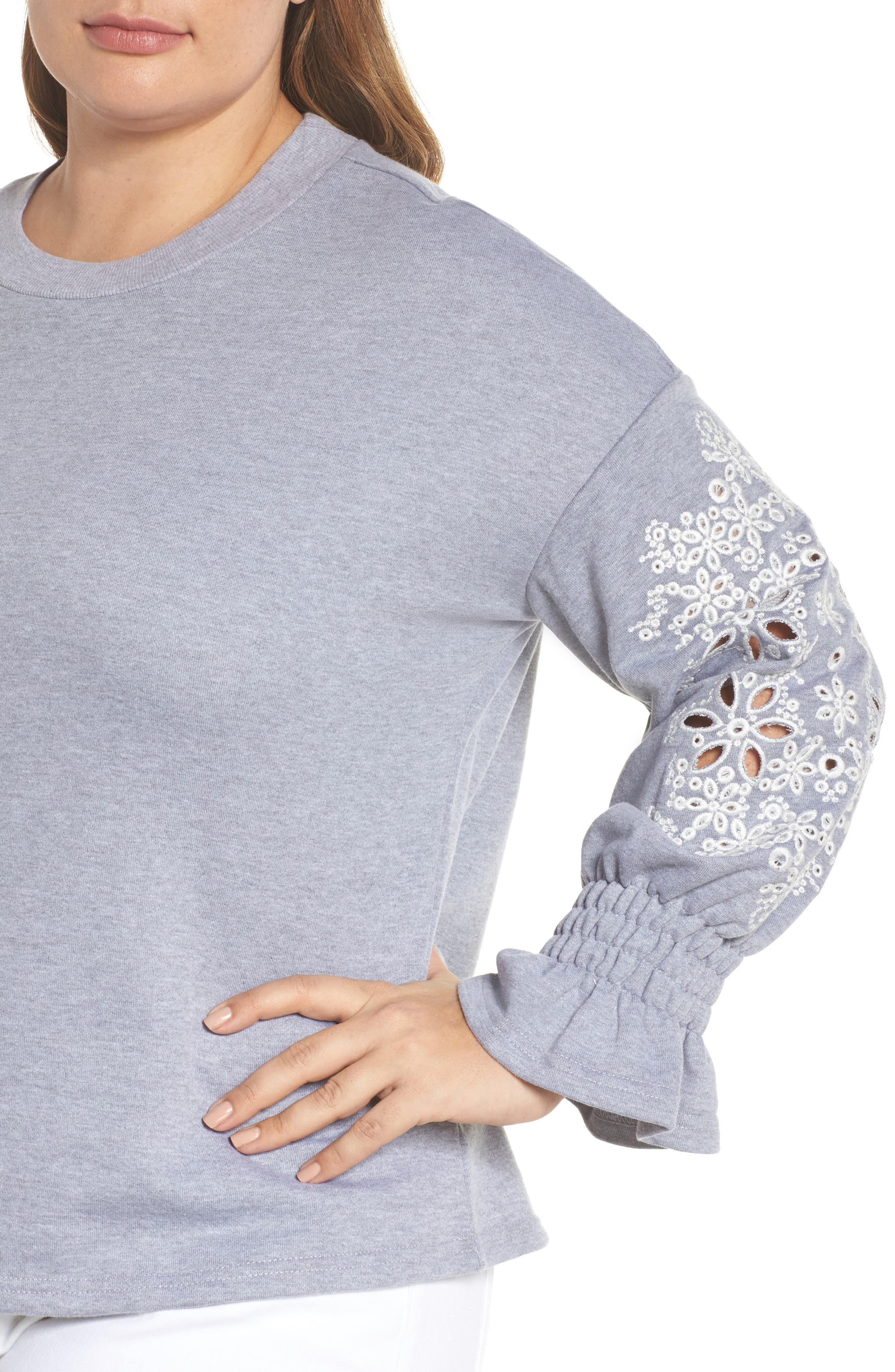 Broderie Anglaise Embellished Sweatshirt,                             Alternate thumbnail 4, color,                             020