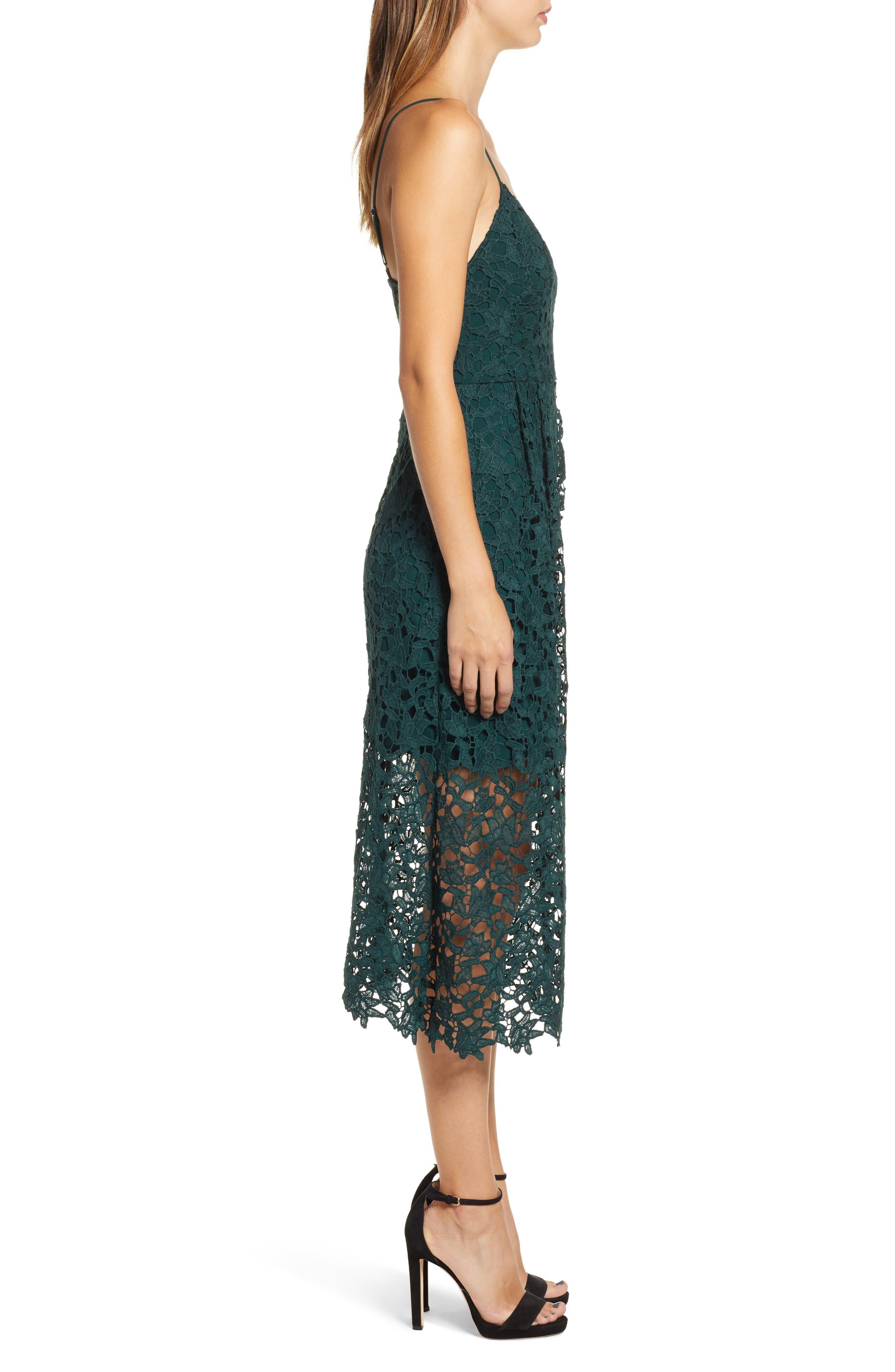 Lace Midi Dress,                             Alternate thumbnail 3, color,                             JADE GREEN
