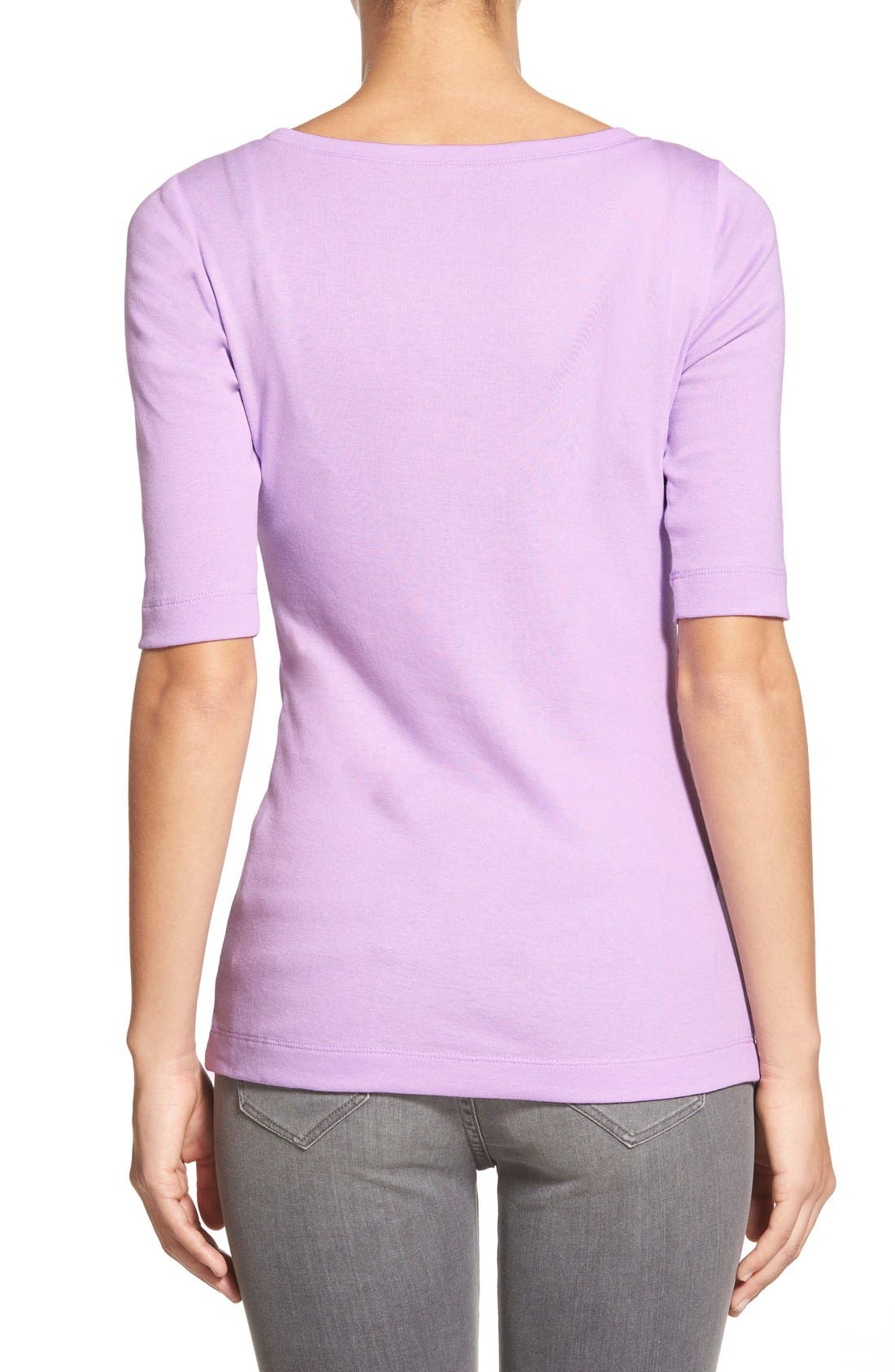 Ballet Neck Cotton & Modal Knit Elbow Sleeve Tee,                             Alternate thumbnail 144, color,