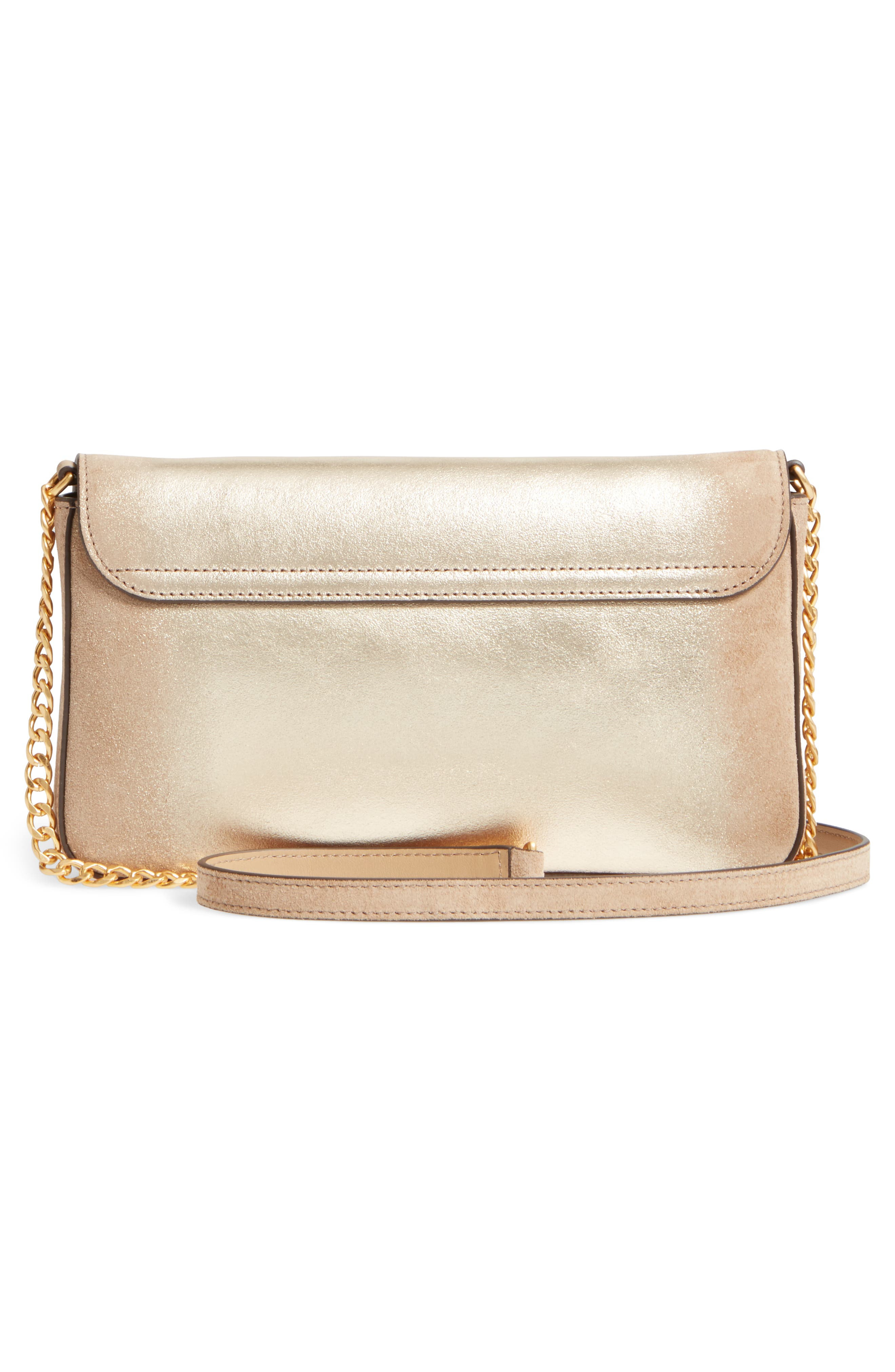 Chelsea Convertible Metallic Leather Clutch,                             Alternate thumbnail 3, color,                             710