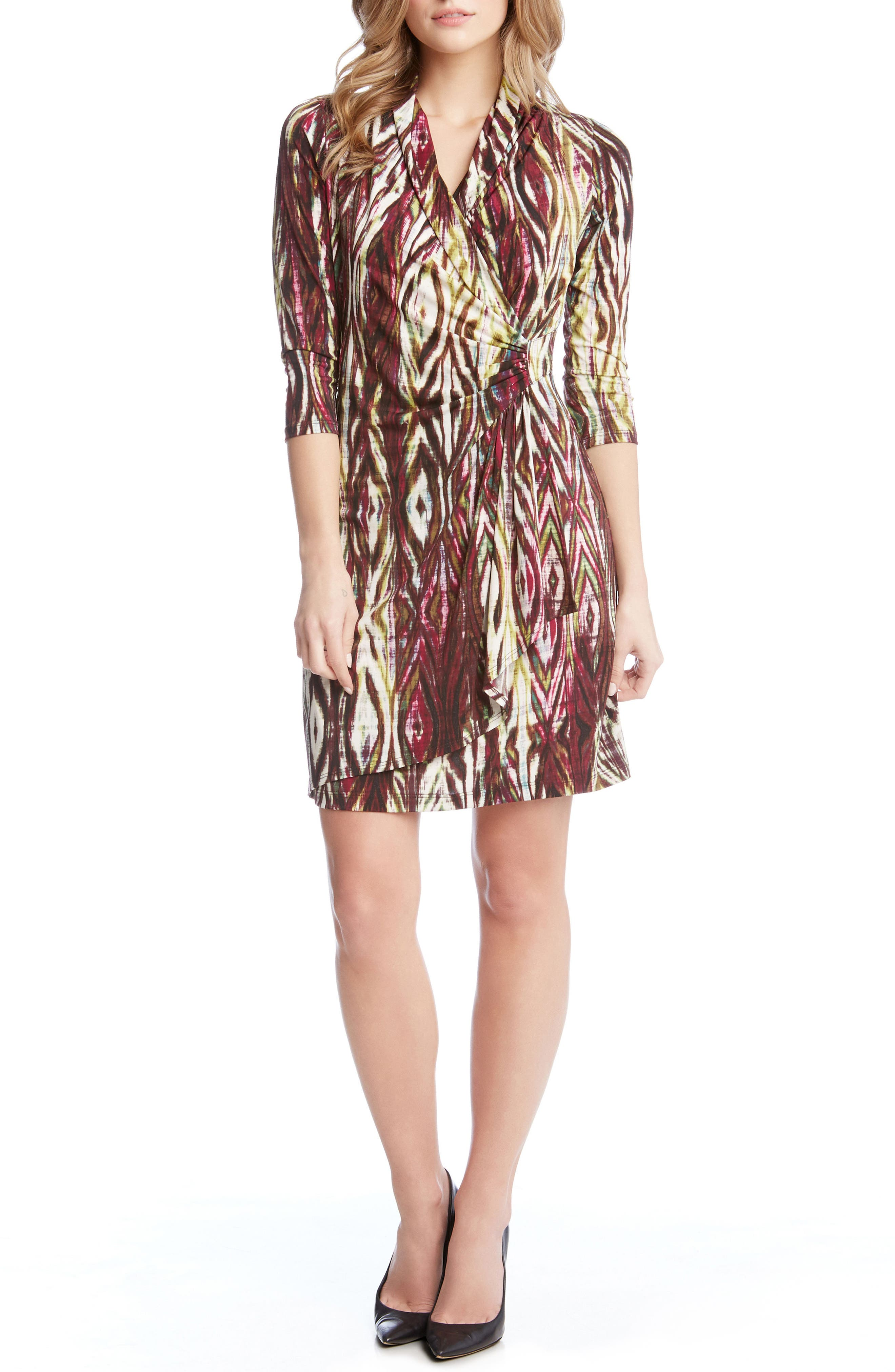 Print Jersey Cascade Faux Wrap Dress,                             Main thumbnail 1, color,                             560