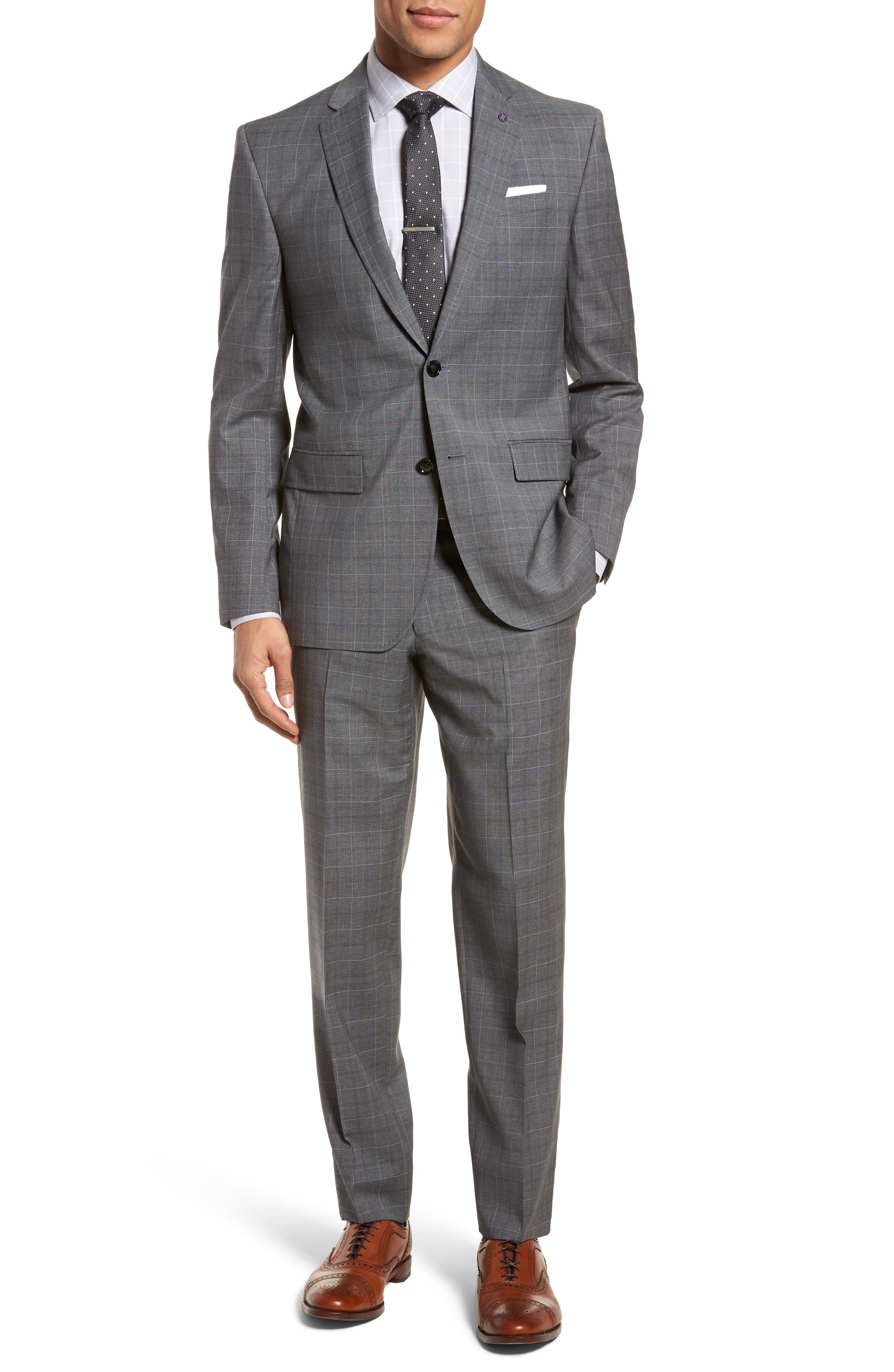 Jay Trim Fit Plaid Wool Suit,                             Main thumbnail 1, color,