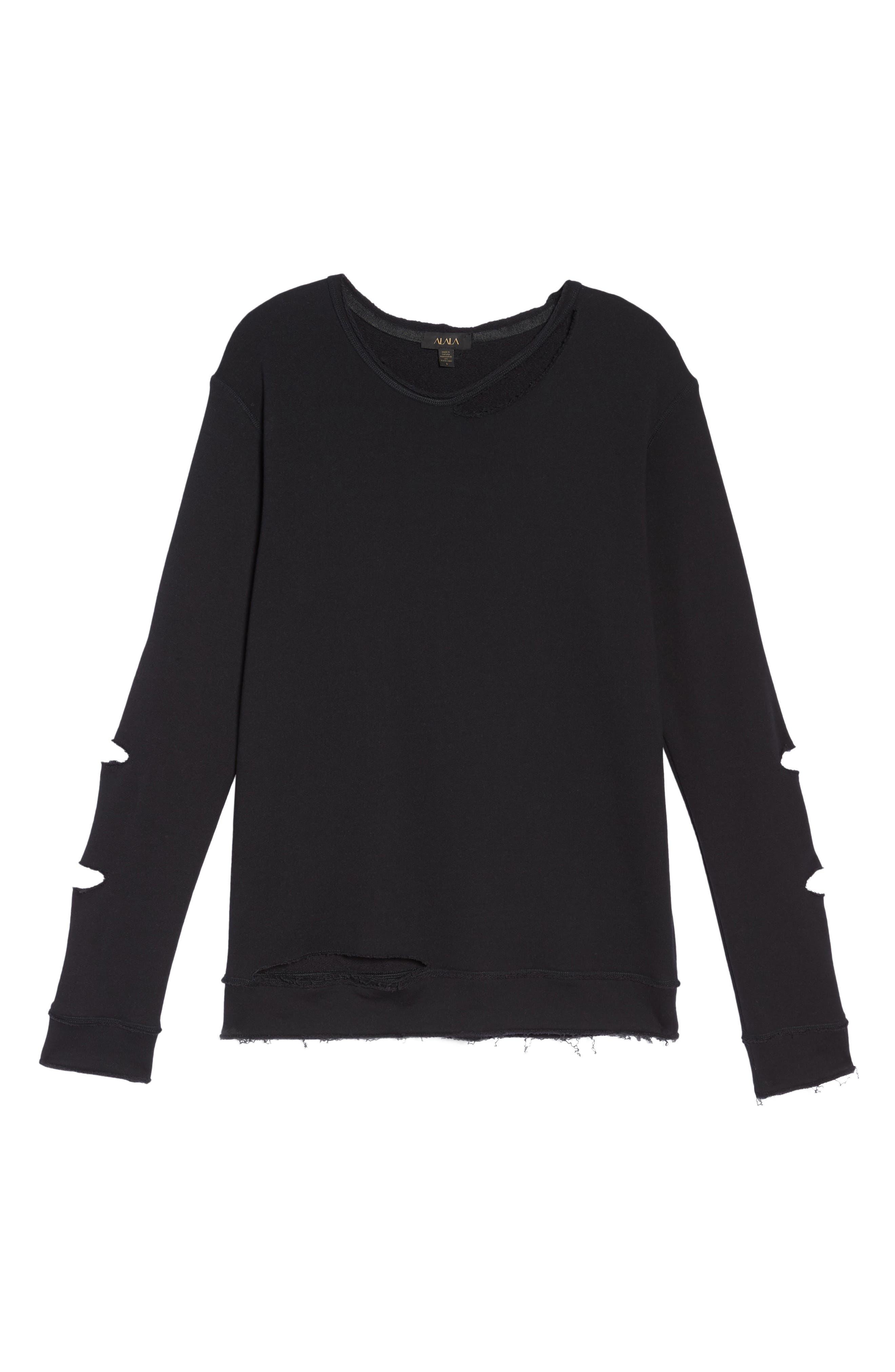 Cypher Destroyed Sweatshirt,                             Alternate thumbnail 7, color,                             BLACK