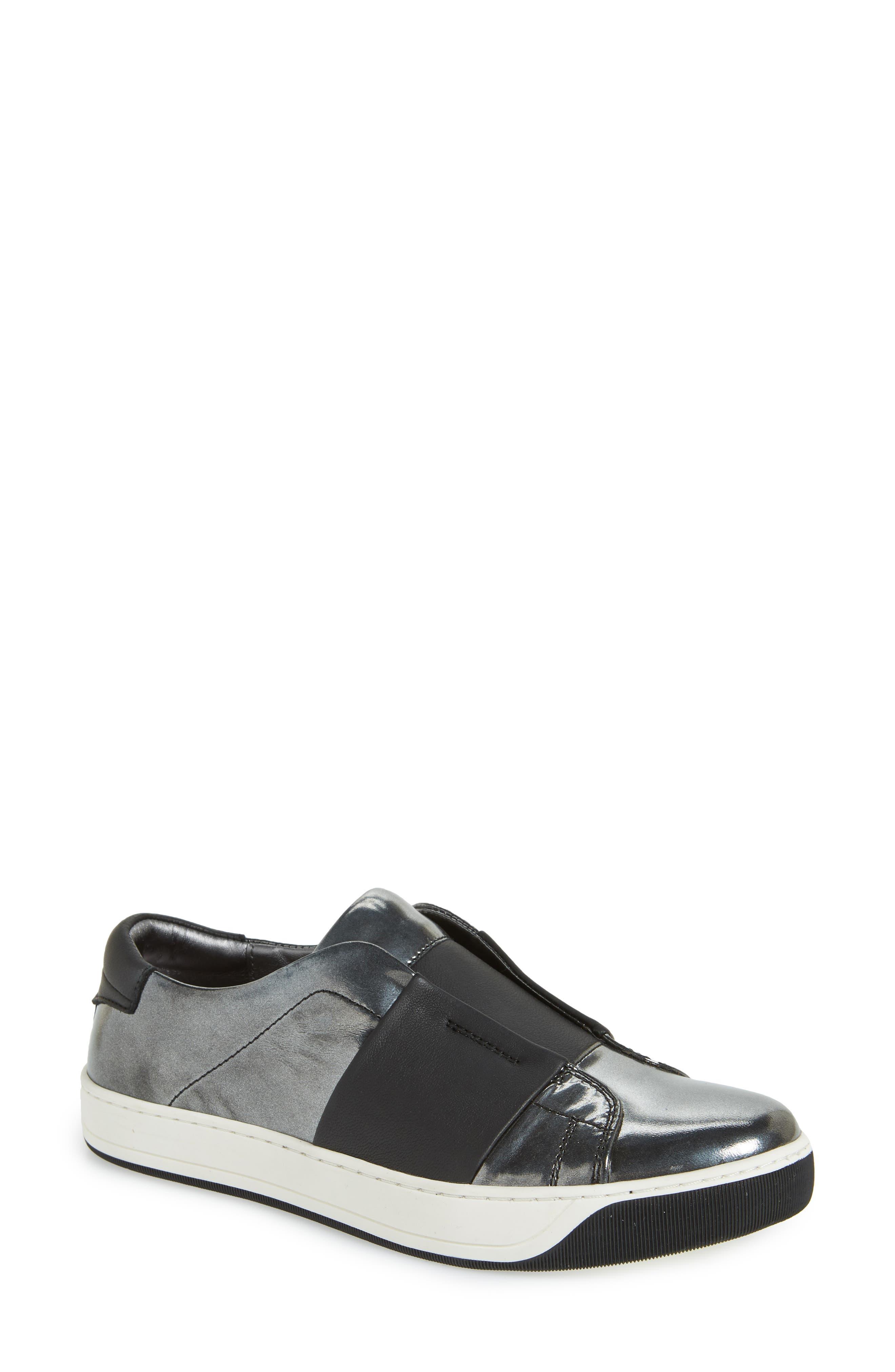 JOHNSTON & MURPHY,                             Eden Slip-On Sneaker,                             Main thumbnail 1, color,                             GRAPHITE LEATHER
