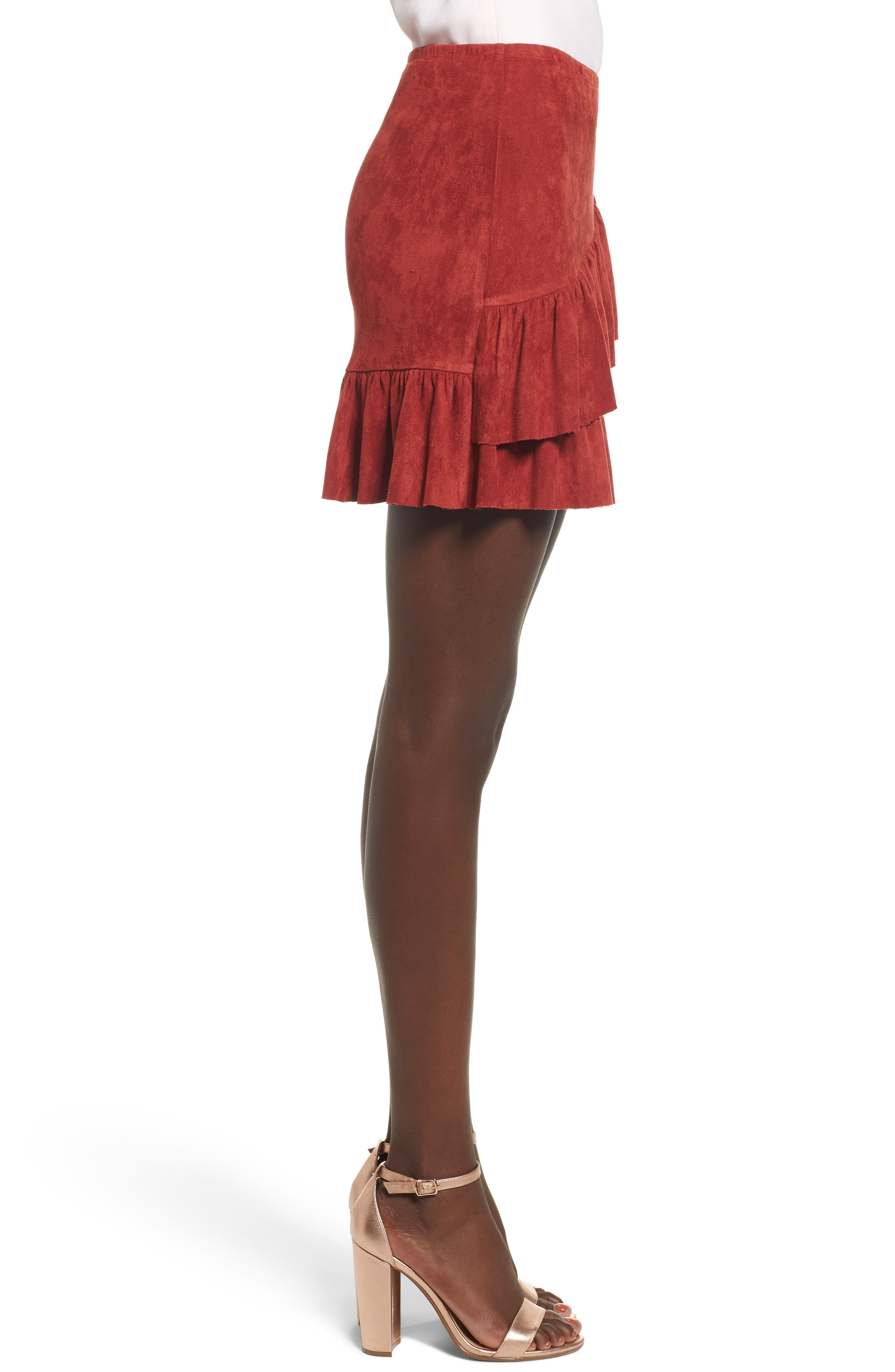Faux Suede Ruffle Miniskirt,                             Alternate thumbnail 3, color,                             200