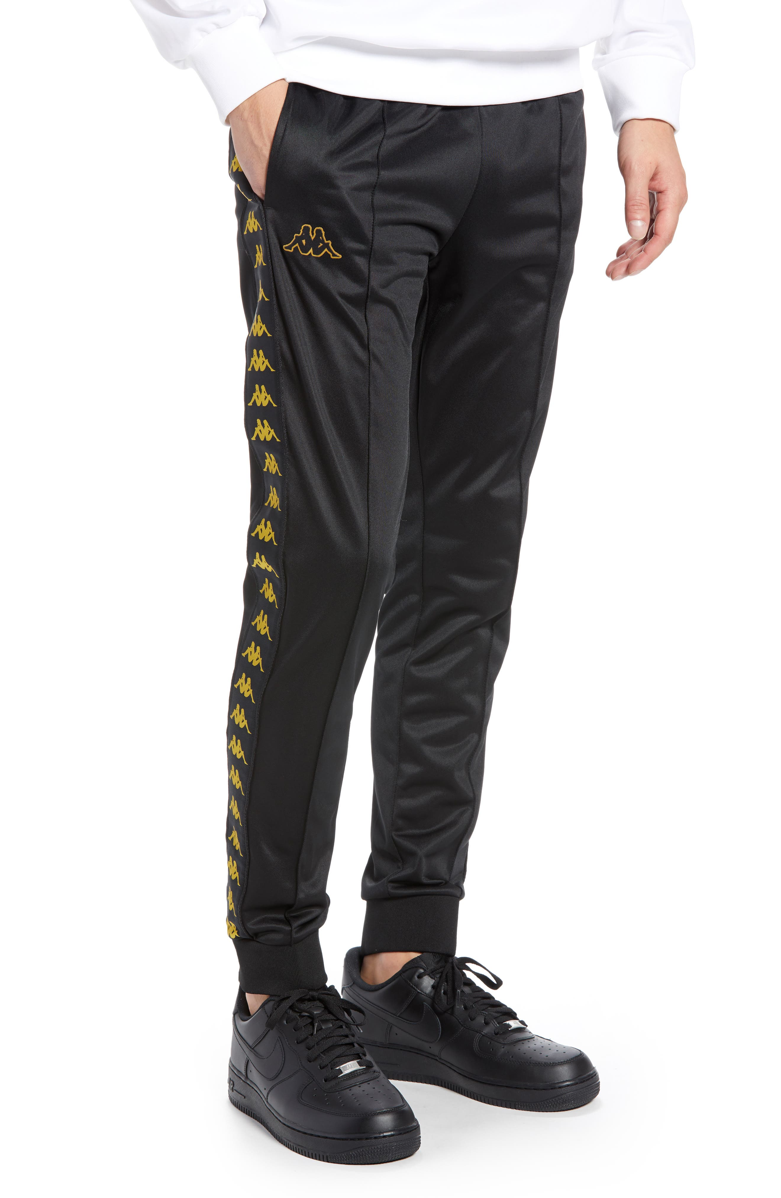 Active Banded Track Pants,                         Main,                         color, BLACK/ GOLD