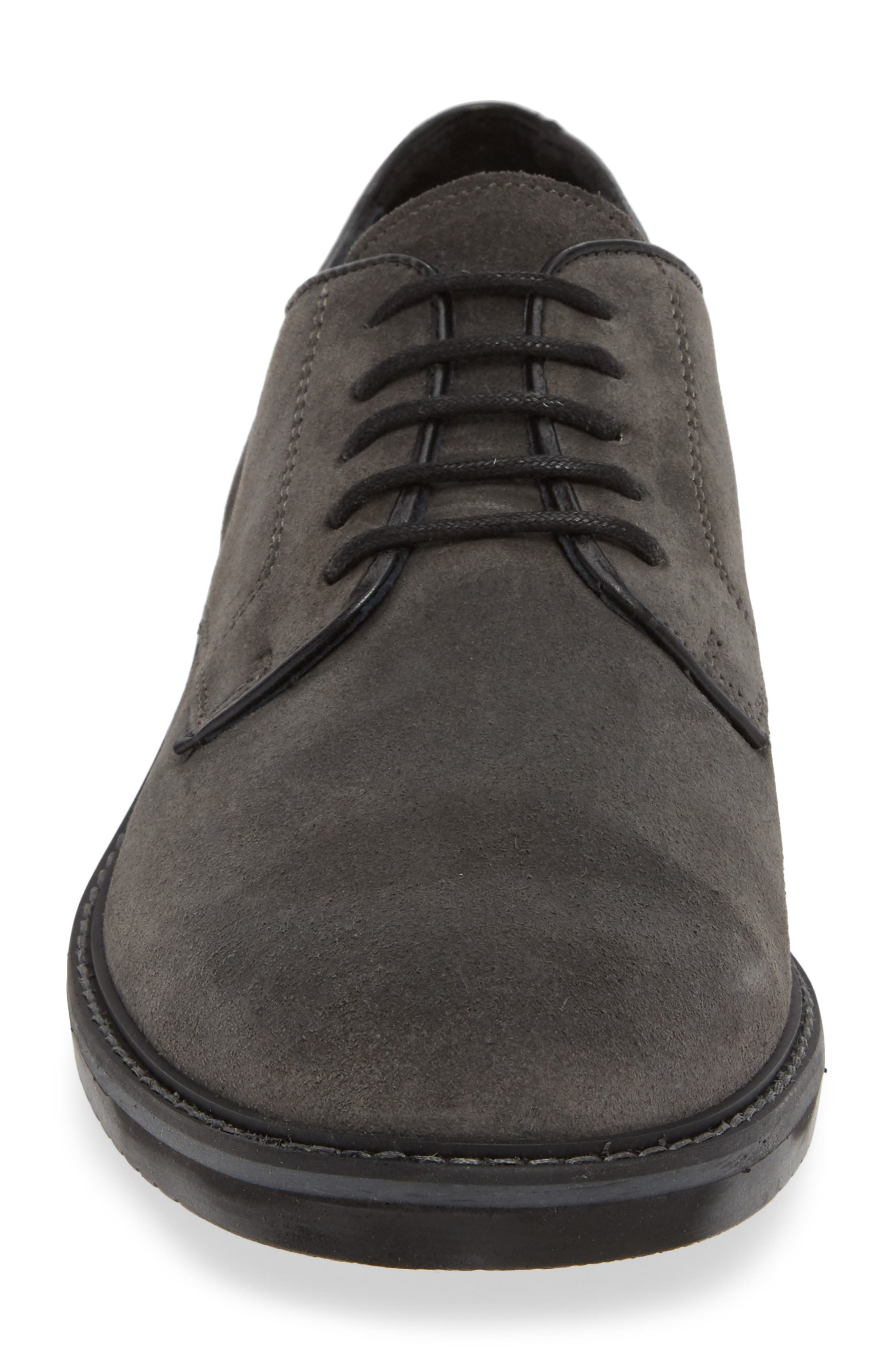 Cardiff Plain Toe Derby,                             Alternate thumbnail 4, color,                             CHARCOAL SUEDE