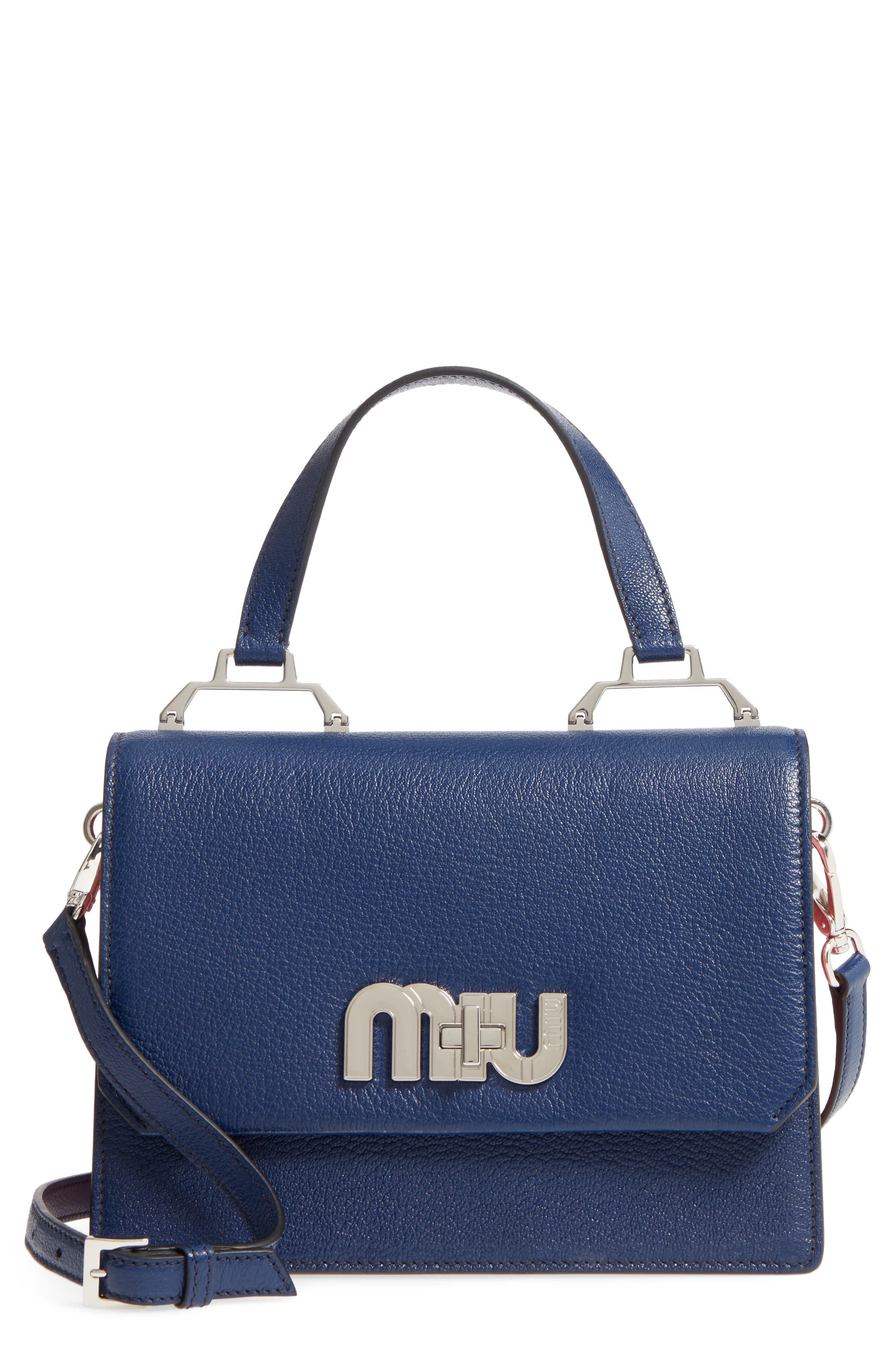 Small Logo Leather Satchel,                         Main,                         color, 400