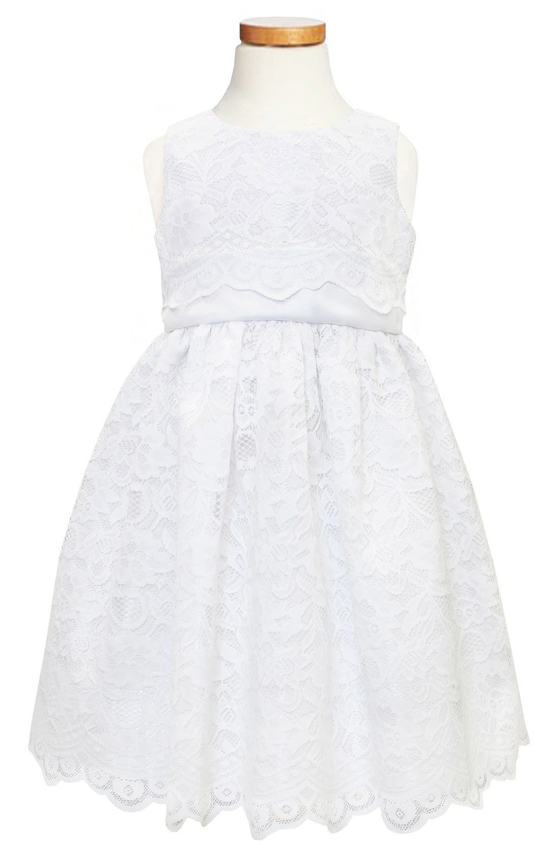 Scallop Lace Dress,                             Main thumbnail 1, color,                             WHITE