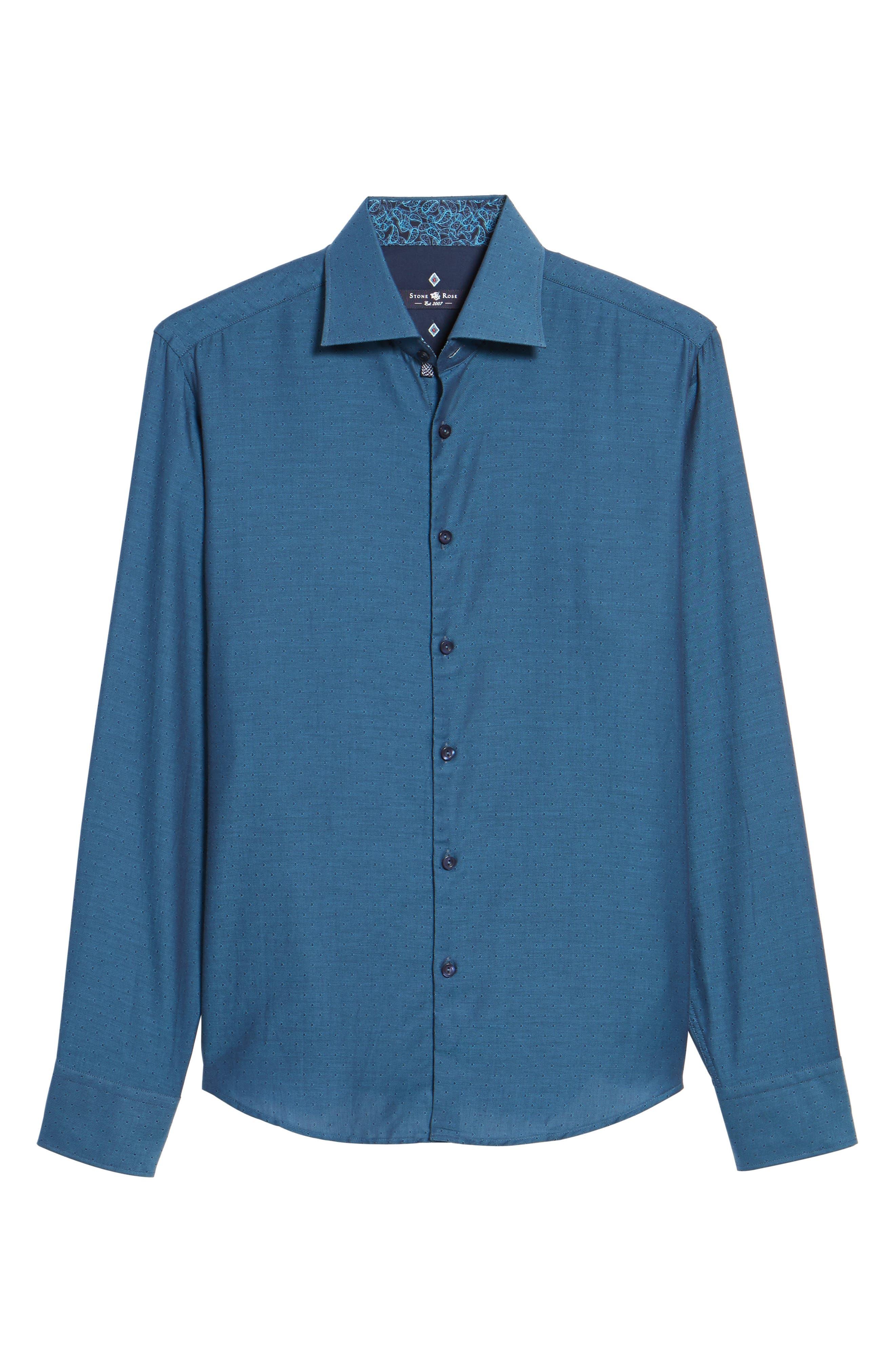 Slim Fit Diamond Twill Sport Shirt,                             Alternate thumbnail 6, color,                             TEAL