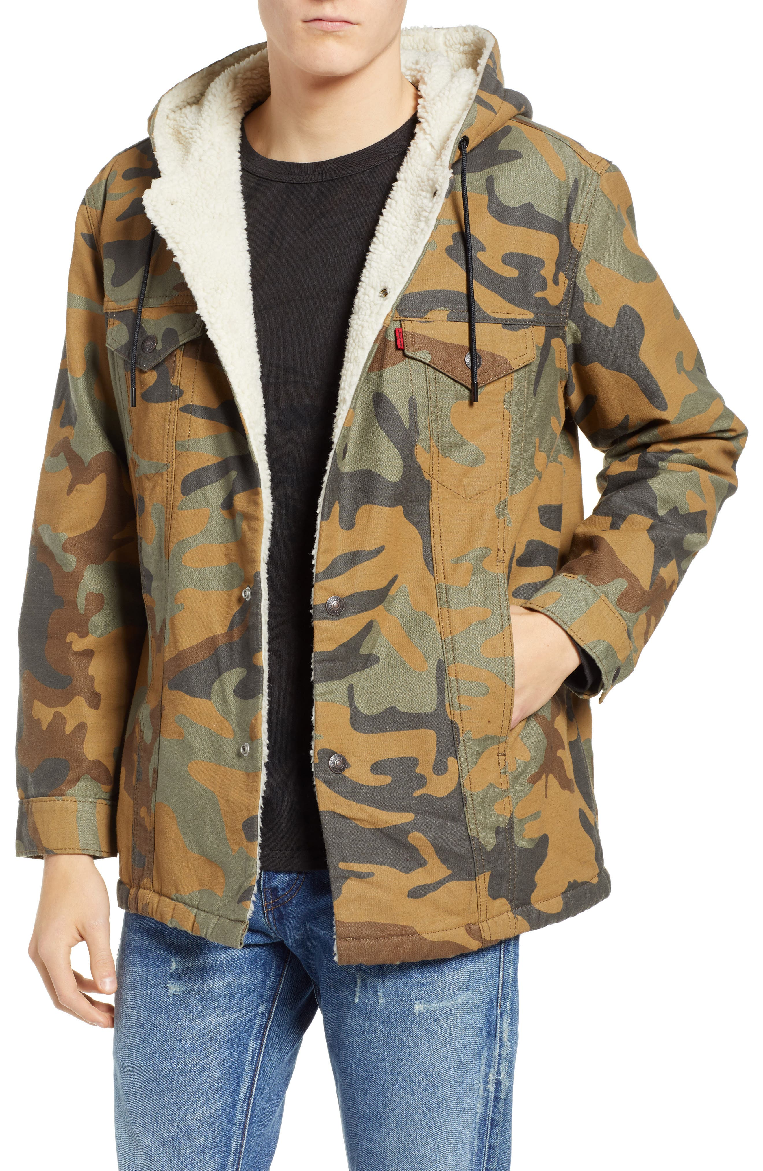 x Justin Timberlake Faux Shearling Hooded Trucker Jacket,                         Main,                         color, CAMO