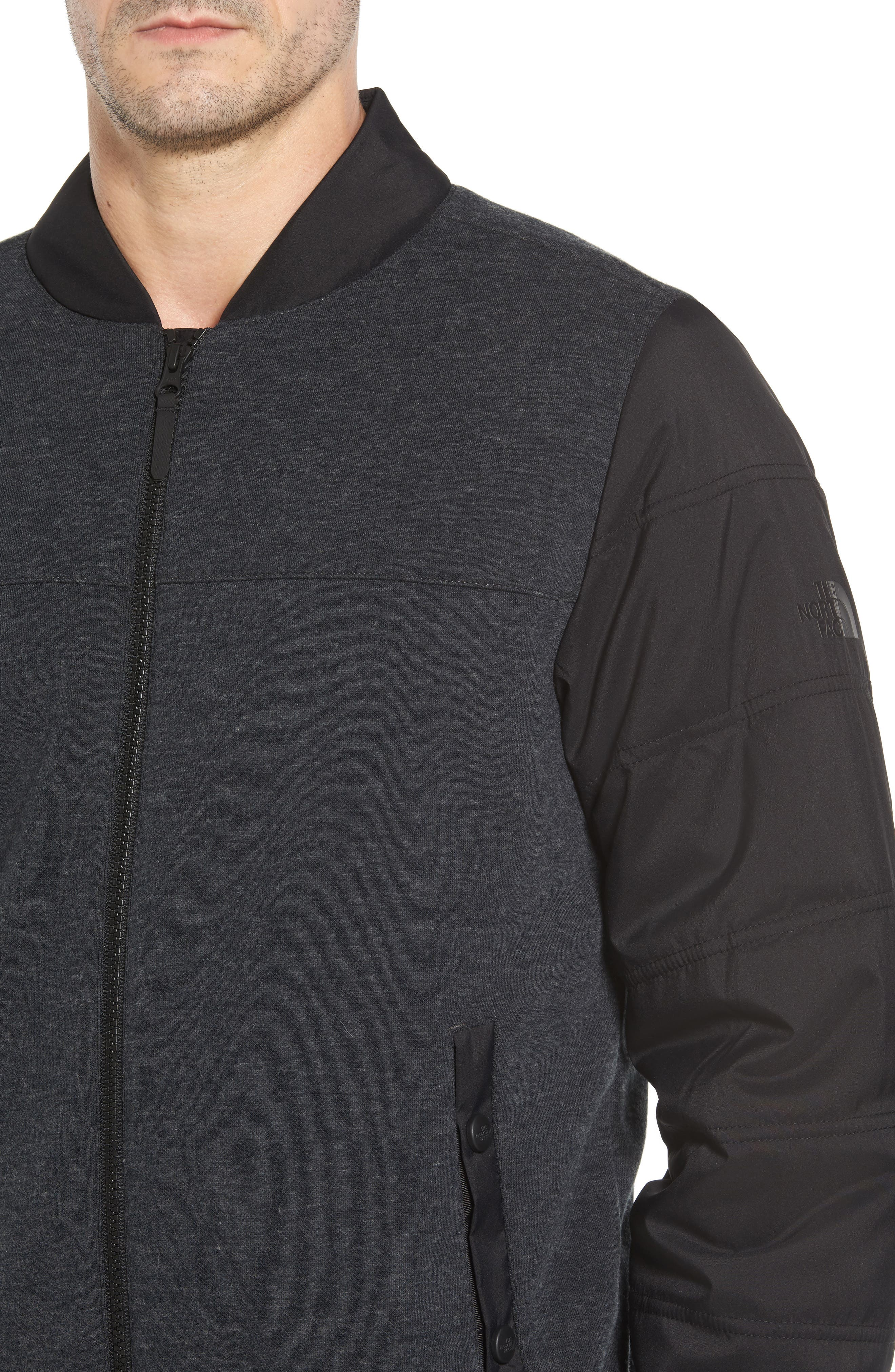 Far Northern Hybrid Bomber Jacket,                             Alternate thumbnail 4, color,                             DARK GREY HEATHER/ BLACK