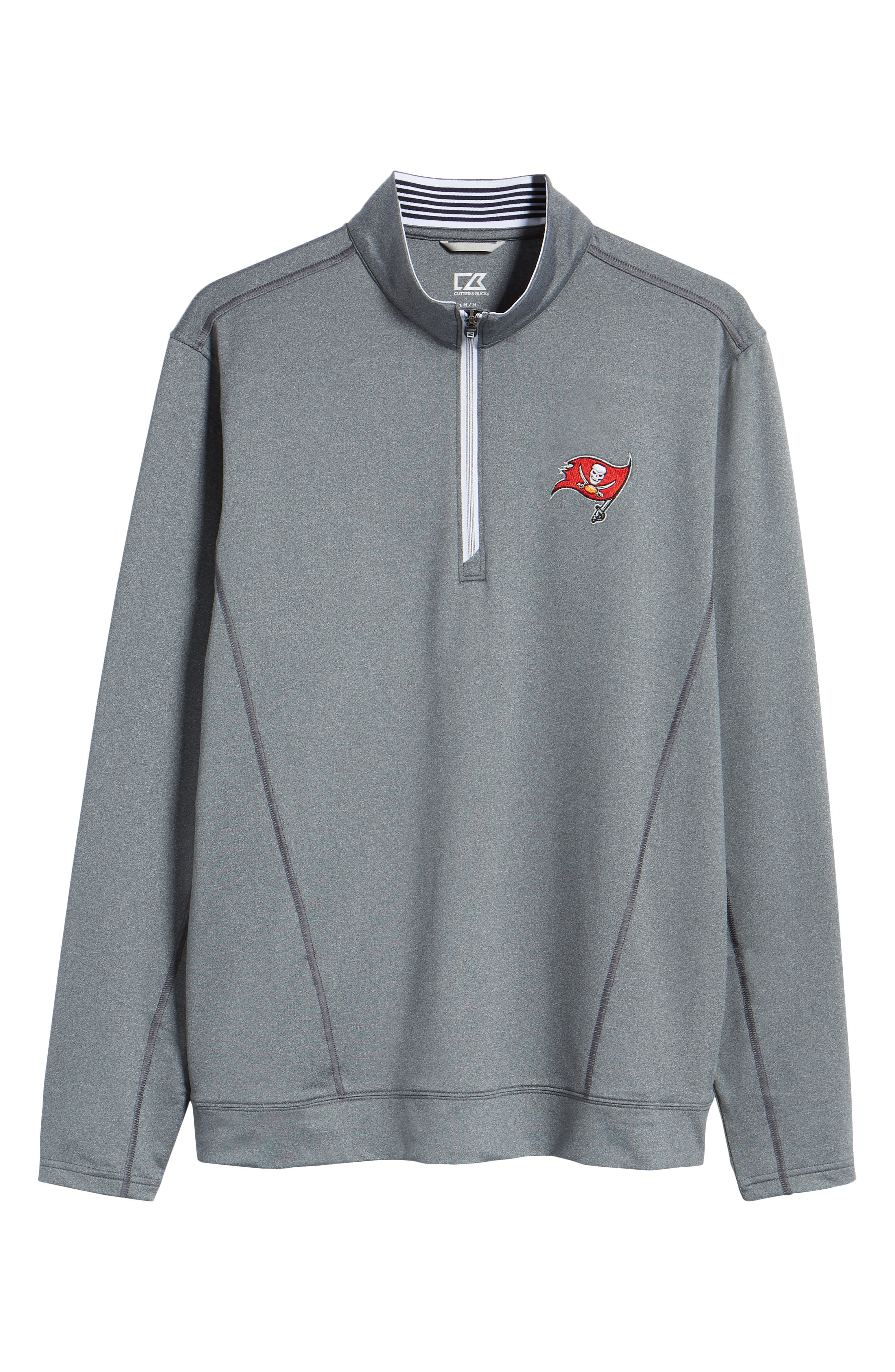 Endurance Tampa Bay Buccaneers Regular Fit Pullover,                             Alternate thumbnail 6, color,                             CHARCOAL HEATHER