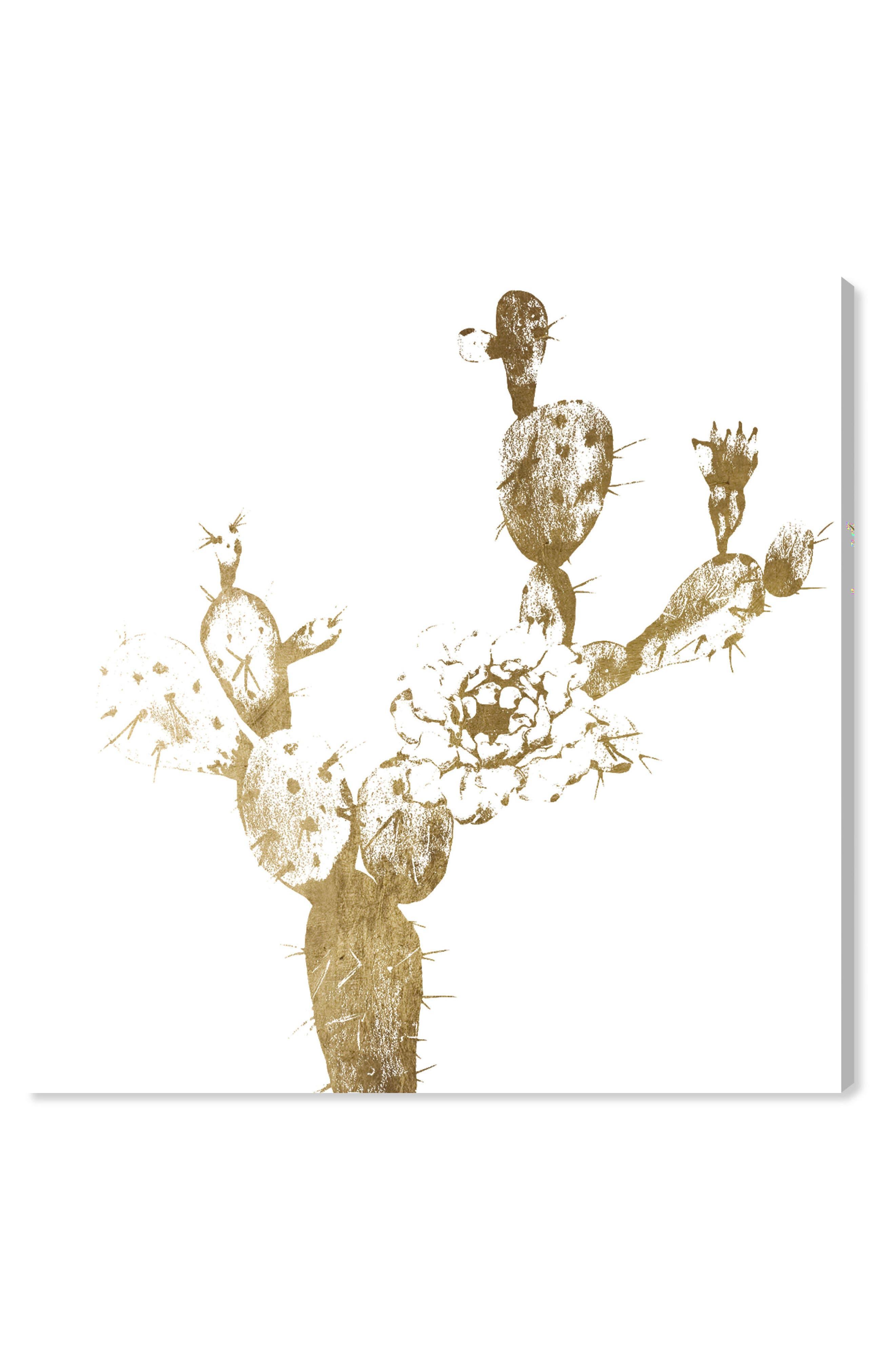 Cactus Gold I Canvas Wall Art,                             Main thumbnail 1, color,                             METALLIC GOLD