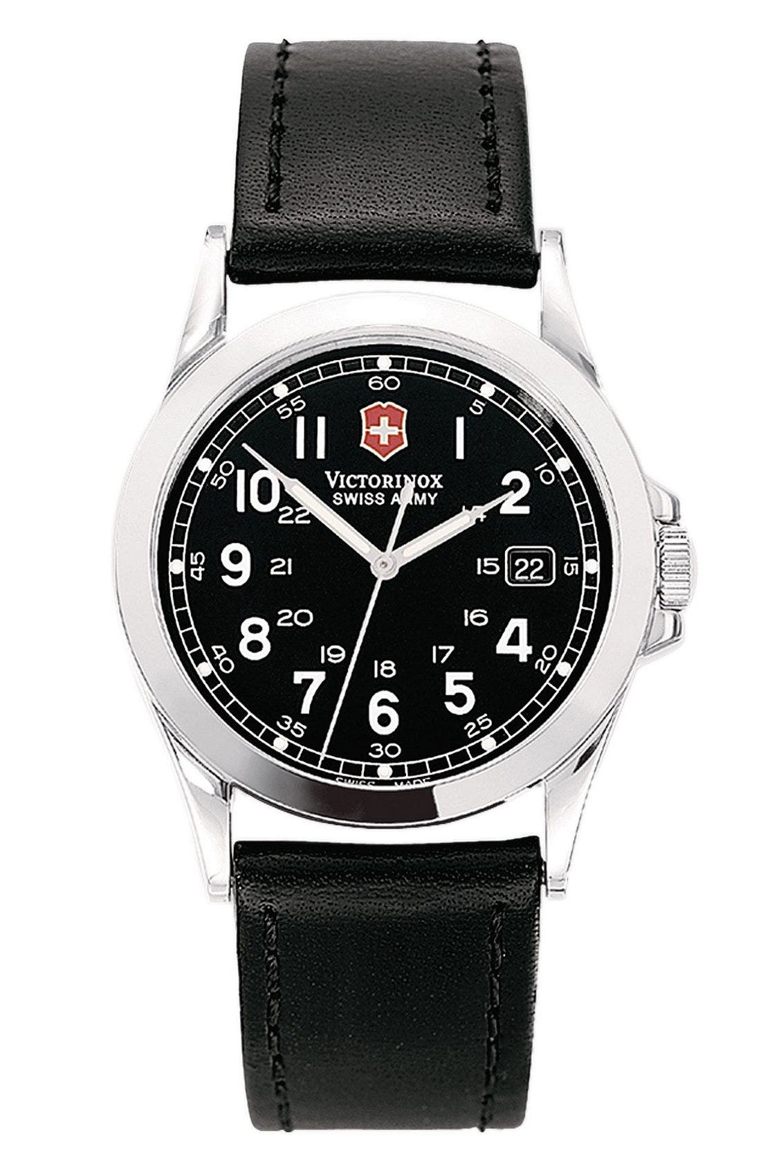 'Infantry' 38mm Watch with Leather Band, Main, color, 001