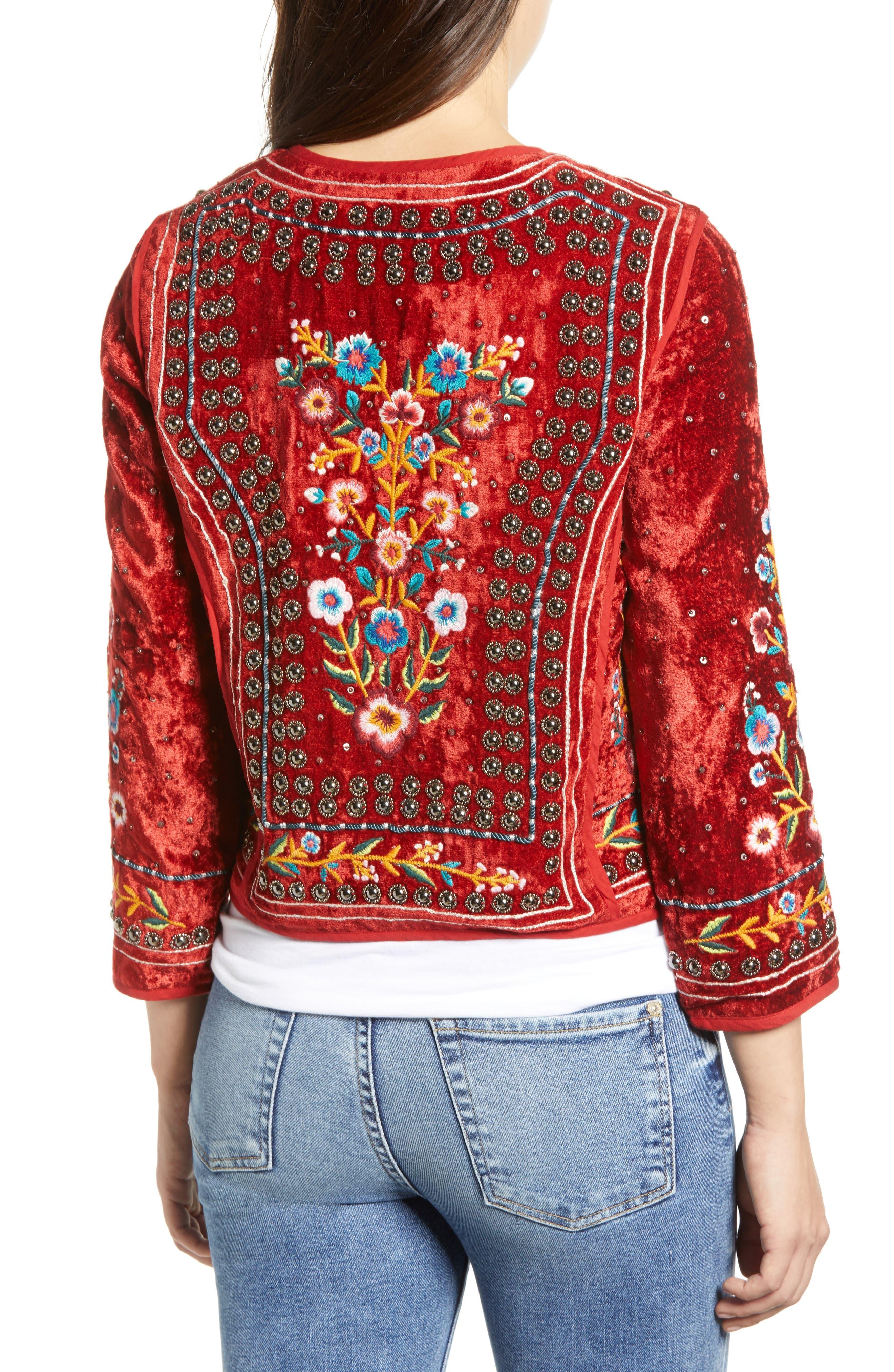 Embroidered Velvet Jacket,                             Alternate thumbnail 2, color,                             RED