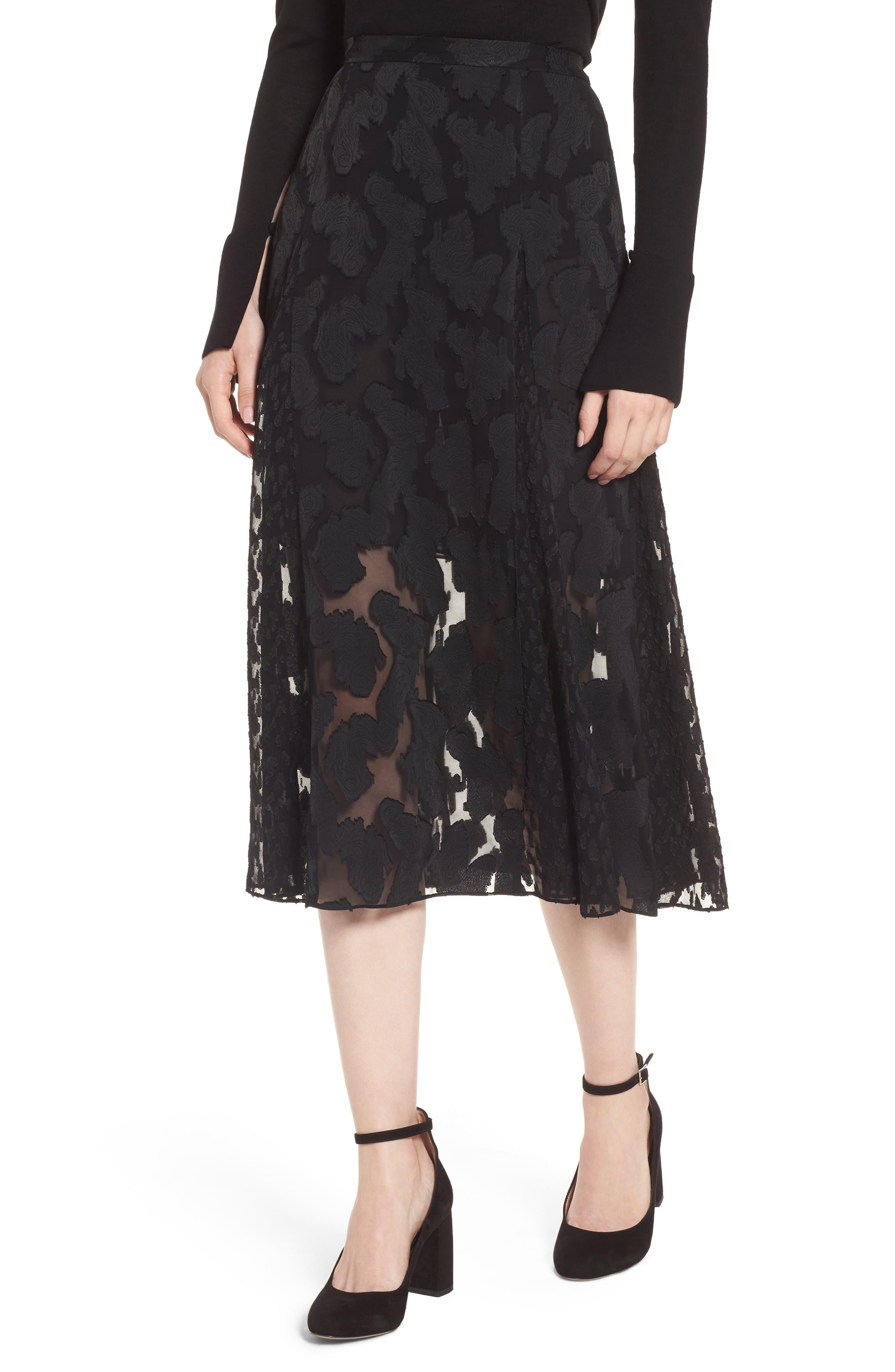 Clip Jacquard Godet Skirt,                             Main thumbnail 1, color,