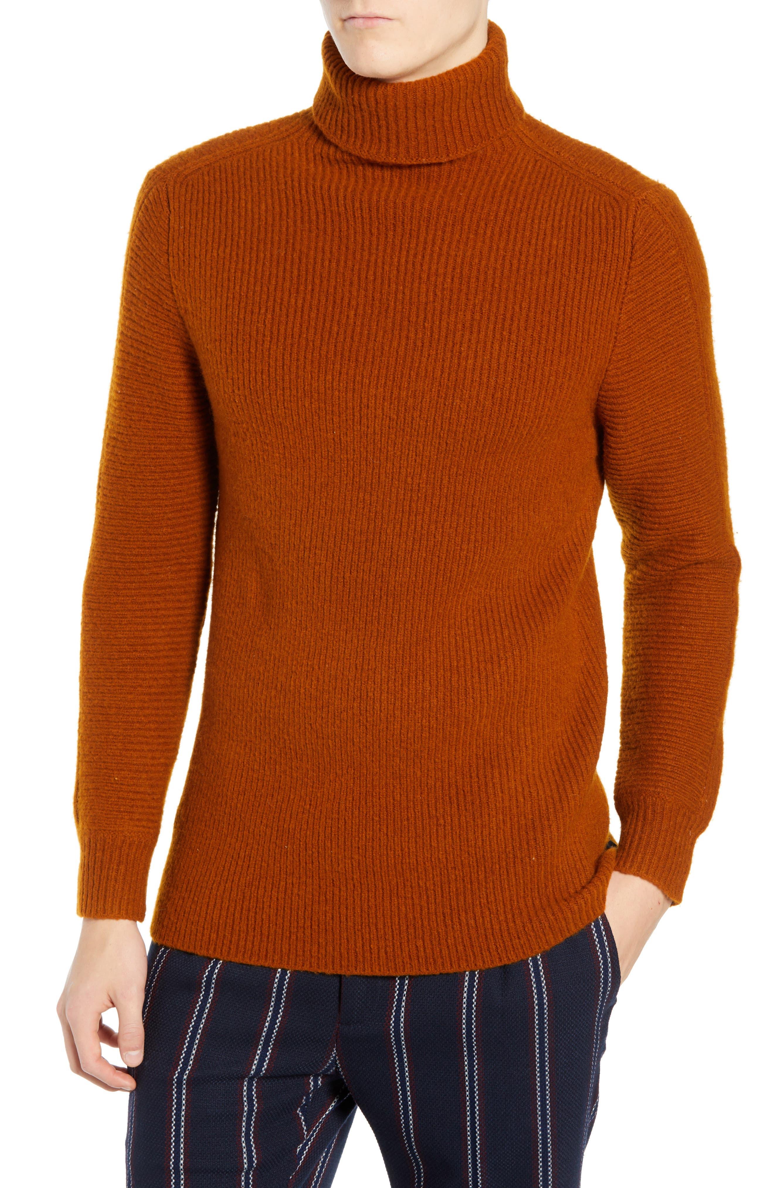 Wool Blend Turtleneck Sweater,                             Main thumbnail 1, color,                             RUSSET BROWN