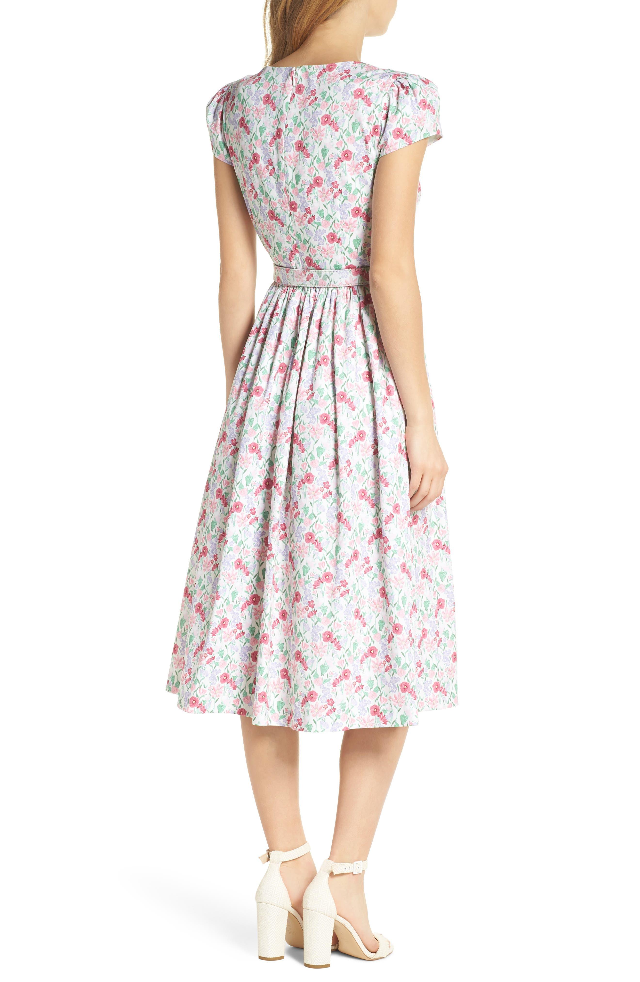 Packed Bouquet Print Stretch Cotton Dress,                             Alternate thumbnail 2, color,                             650