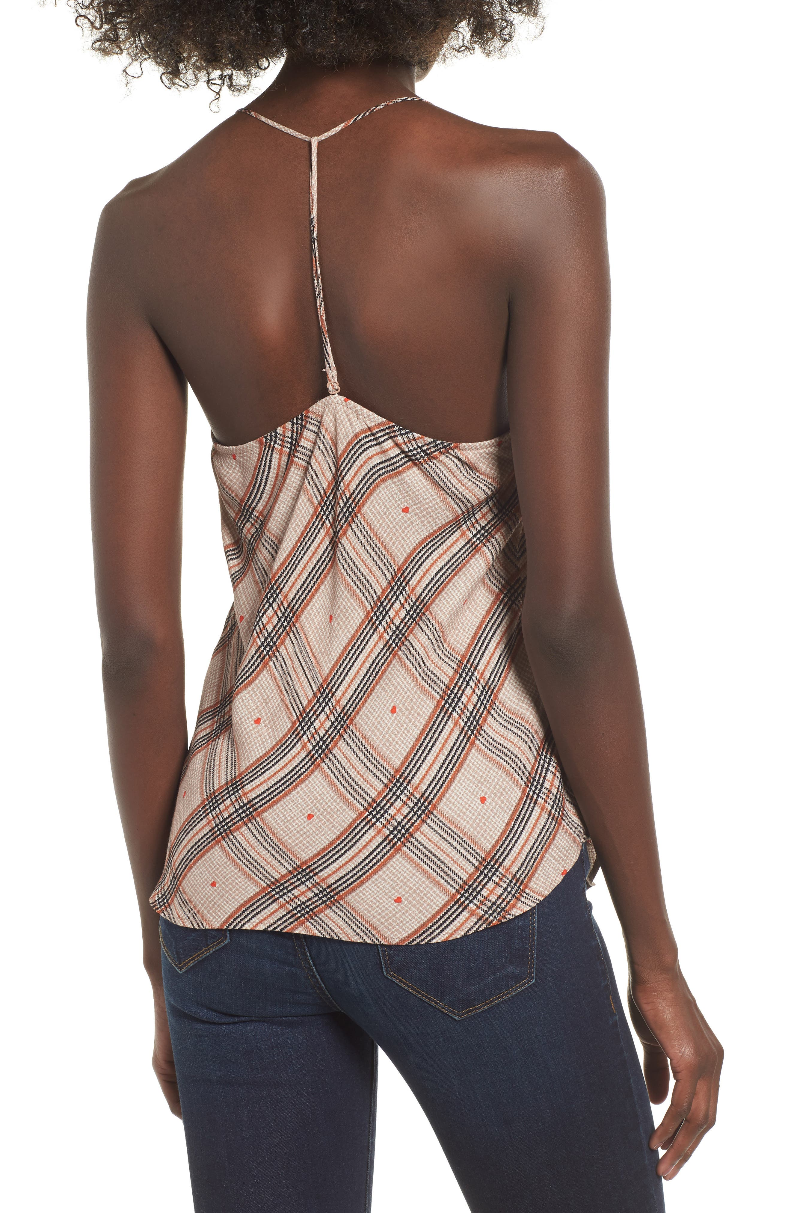 Finn T-Back Camisole,                             Alternate thumbnail 2, color,                             PLAID WITH HEART