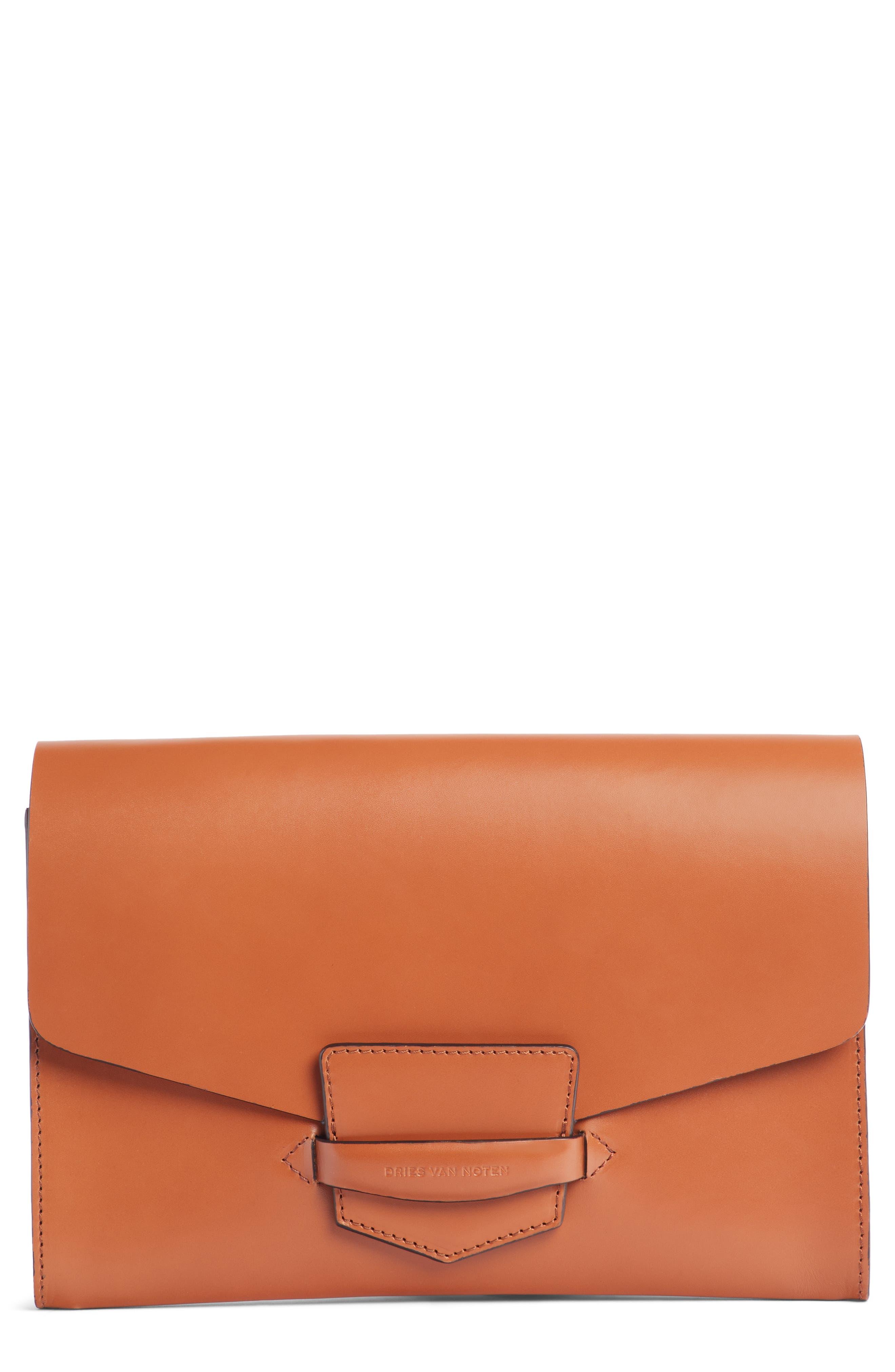 DRIES VAN NOTEN Leather Envelope Clutch, Main, color, 200