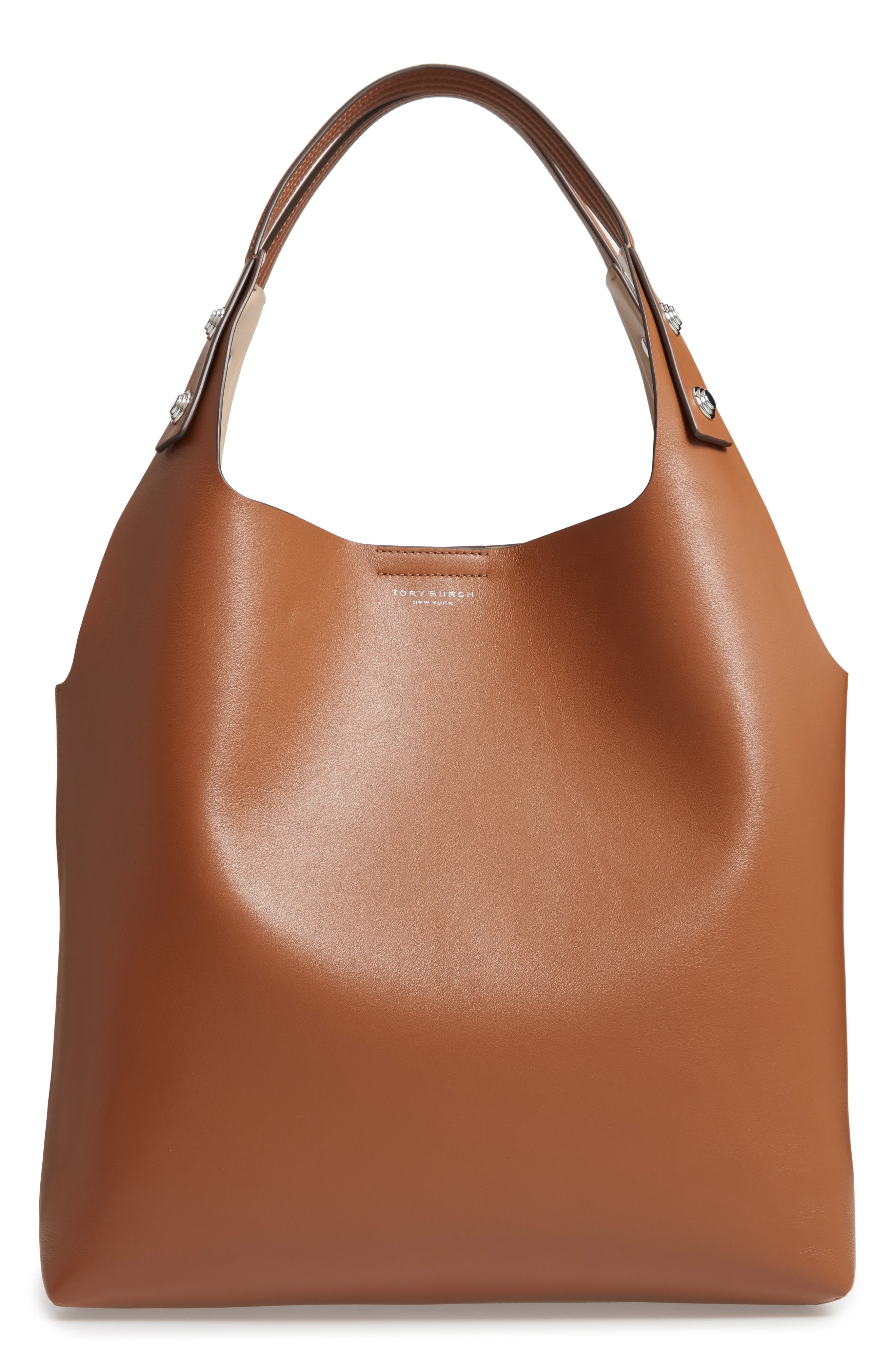 Rory Leather Tote,                         Main,                         color, LIGHT UMBER