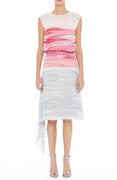 Textured Brushstroke Print Silk Satin Dress, video thumbnail