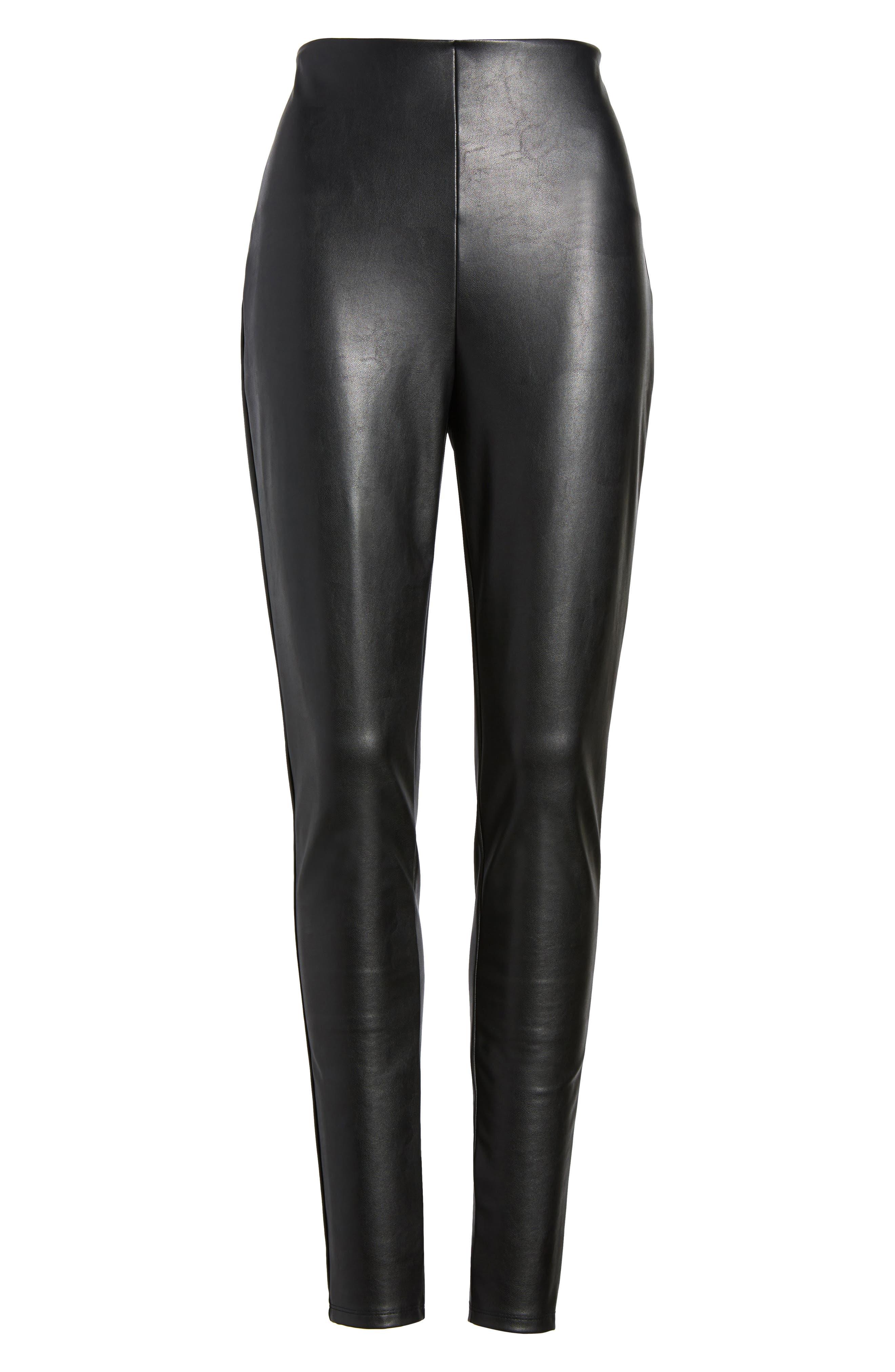 Faux Leather Leggings,                             Alternate thumbnail 6, color,                             001